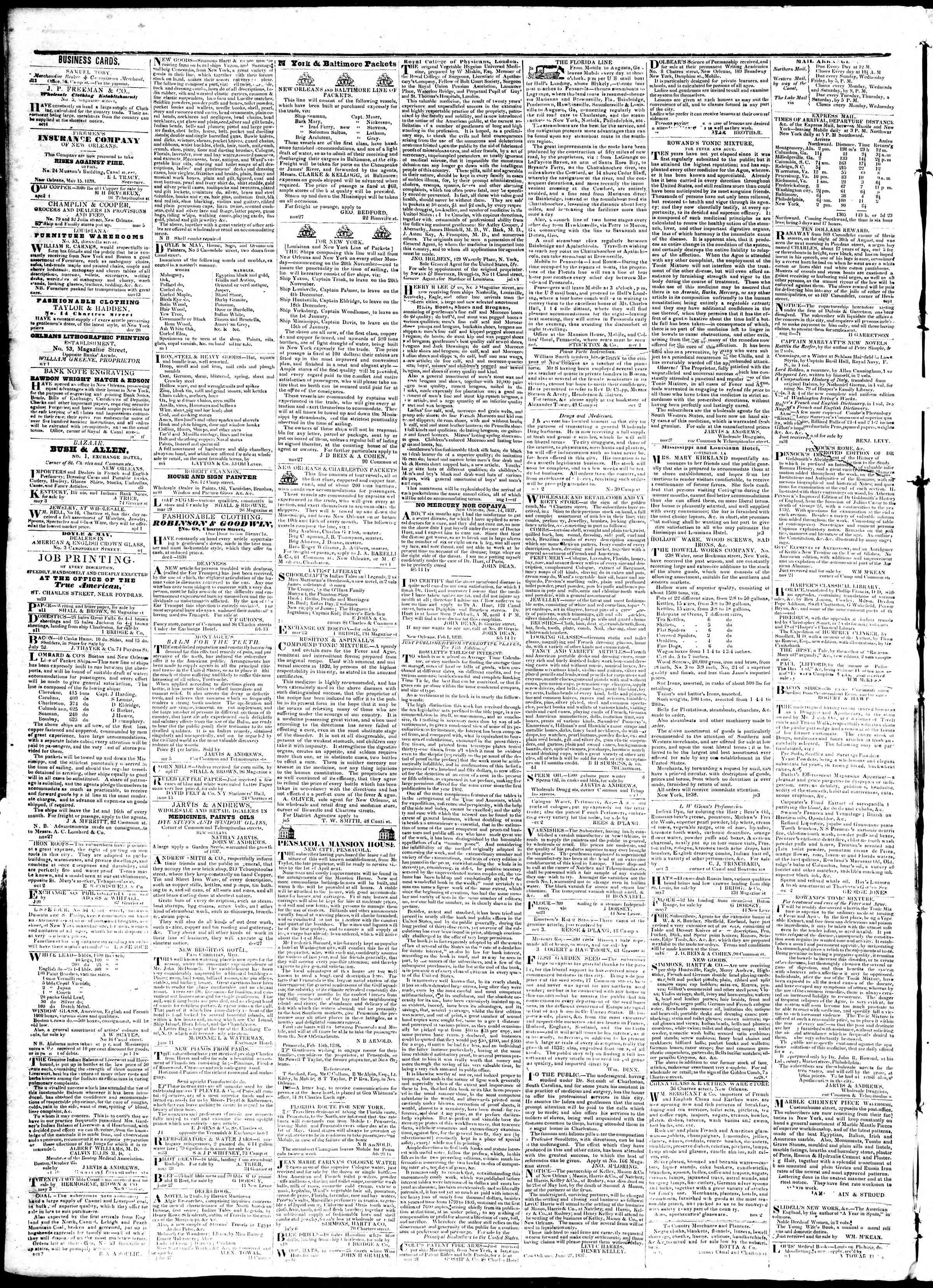 15 Ağustos 1839 Tarihli True American Gazetesi Sayfa 4
