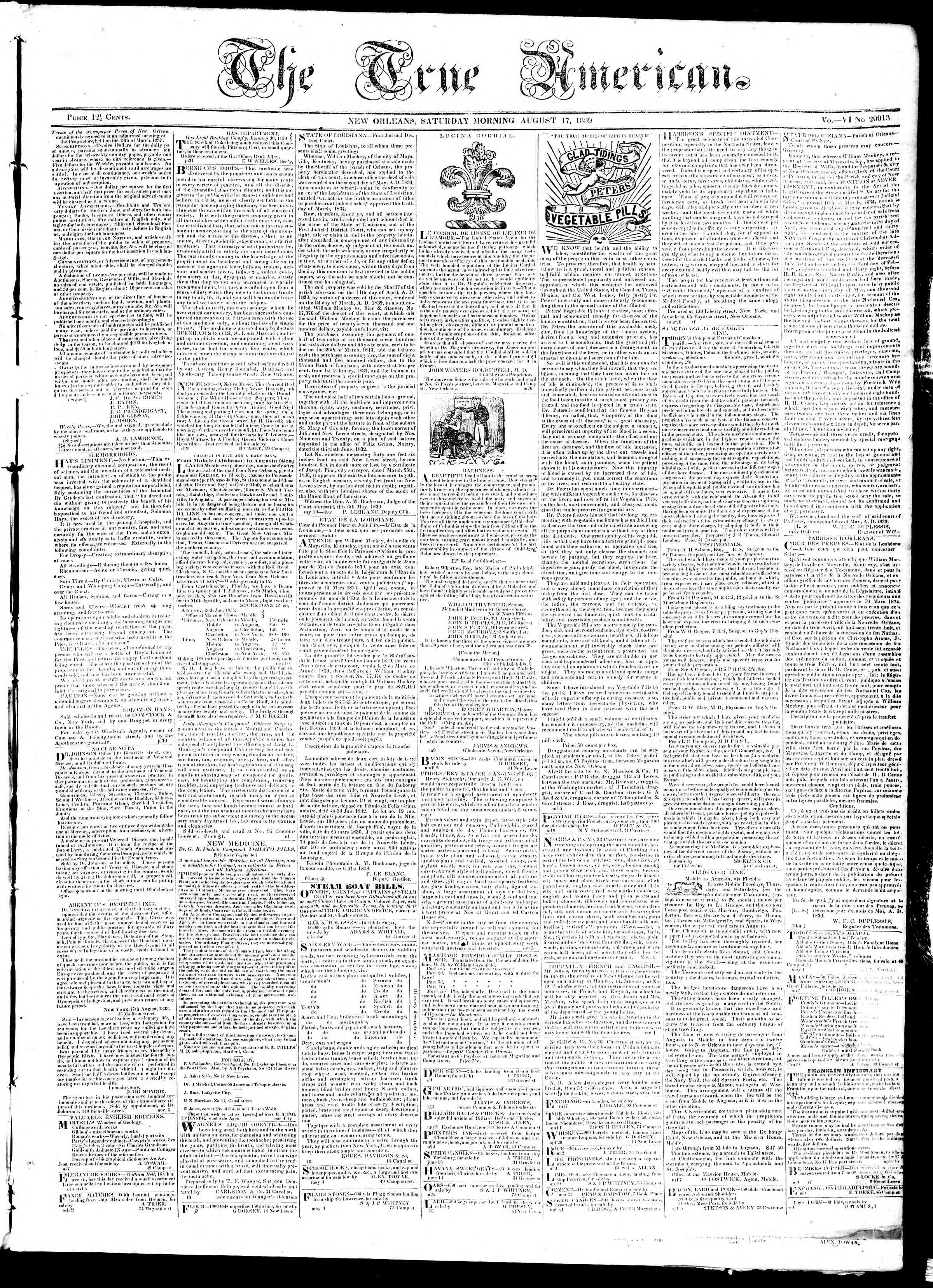 Newspaper of True American dated August 17, 1839 Page 1