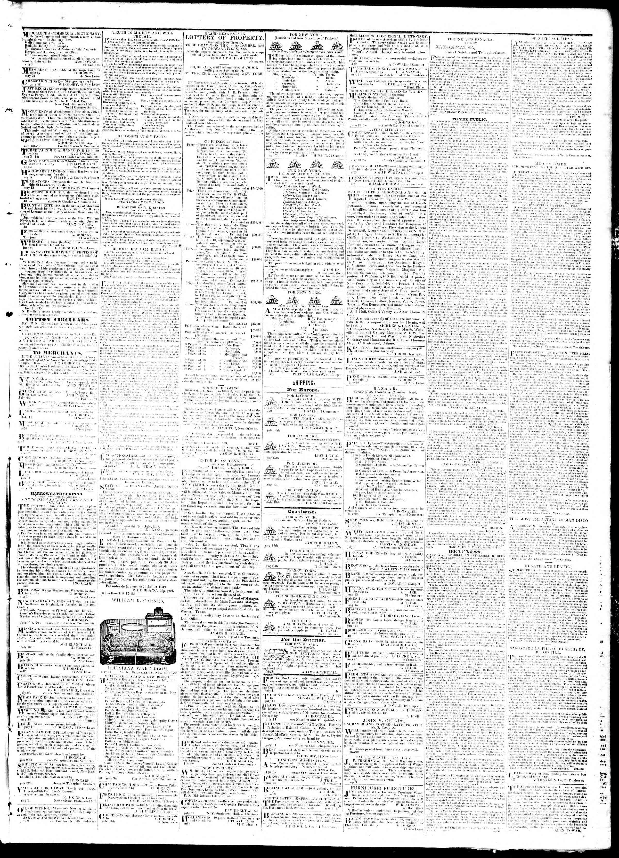 August 17, 1839 Tarihli True American Gazetesi Sayfa 3