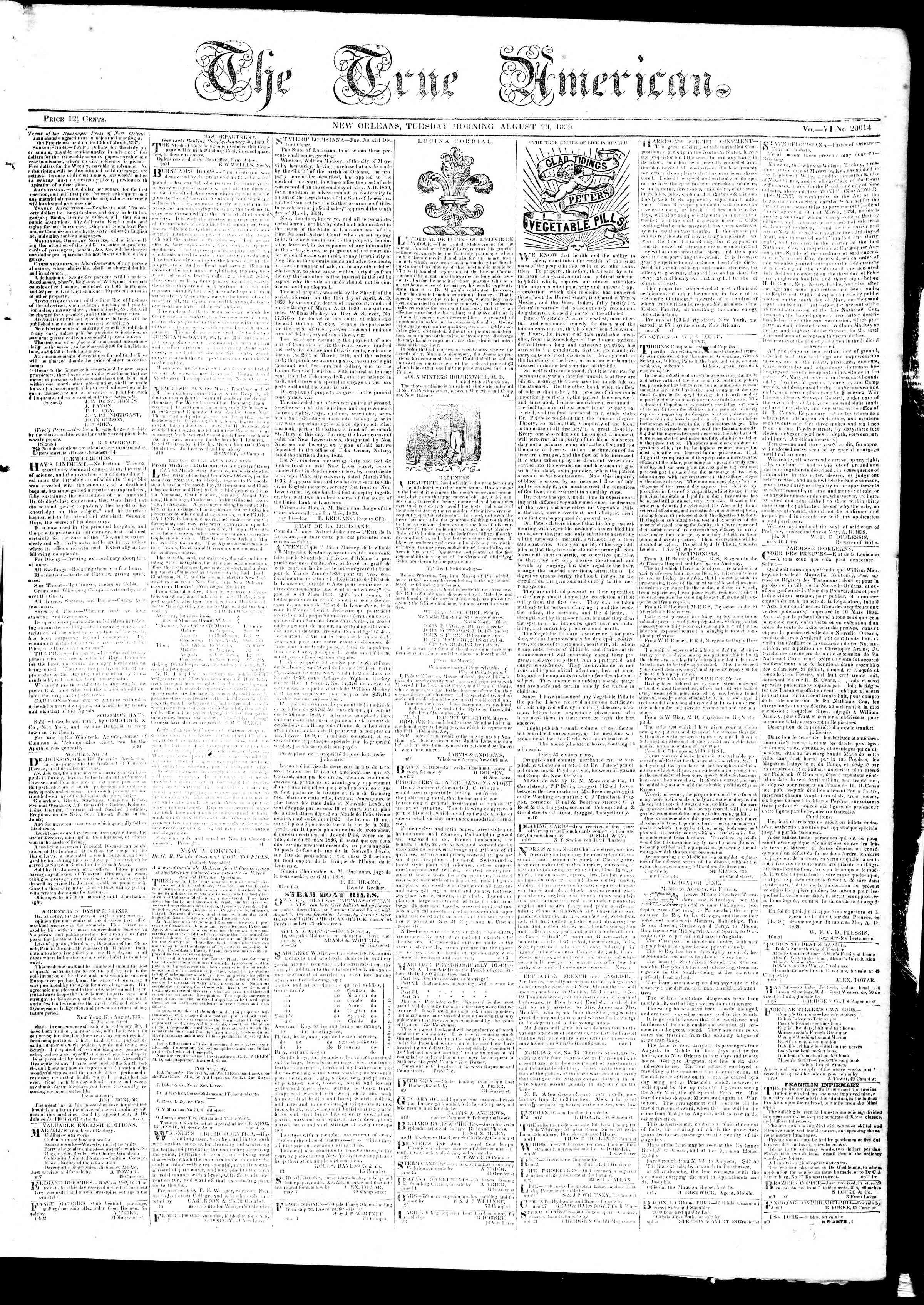 August 20, 1839 Tarihli True American Gazetesi Sayfa 1
