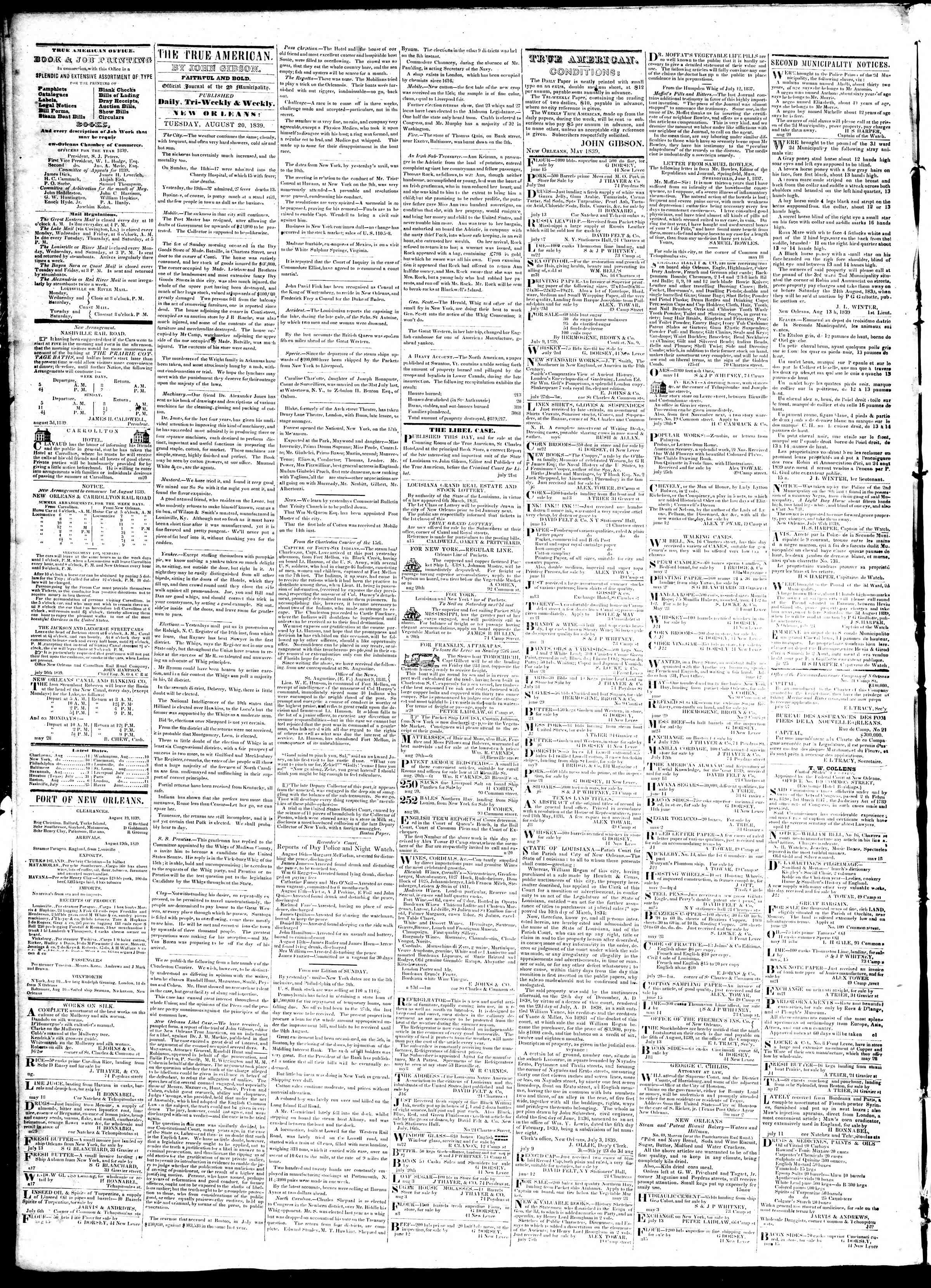 August 20, 1839 Tarihli True American Gazetesi Sayfa 2