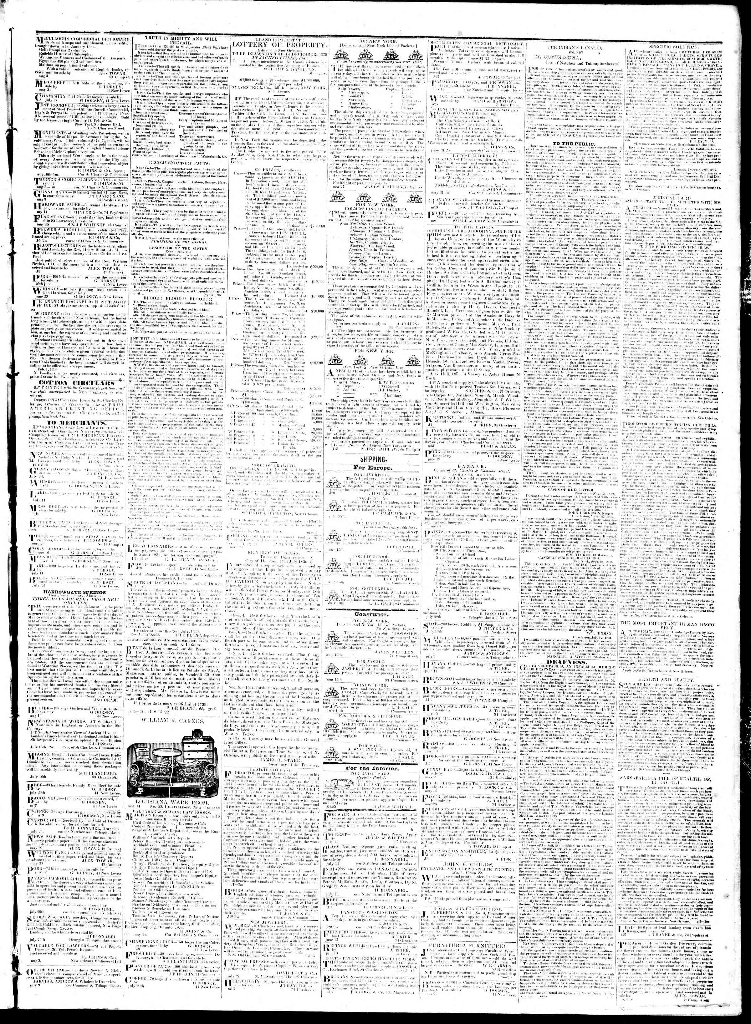 August 20, 1839 Tarihli True American Gazetesi Sayfa 3