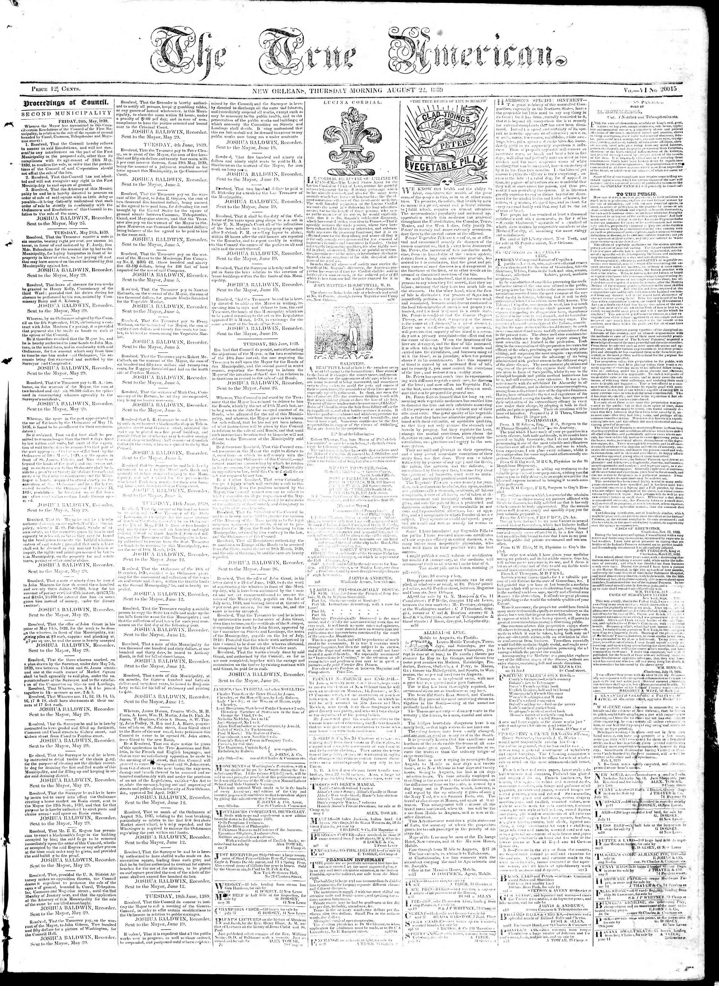 August 22, 1839 Tarihli True American Gazetesi Sayfa 1