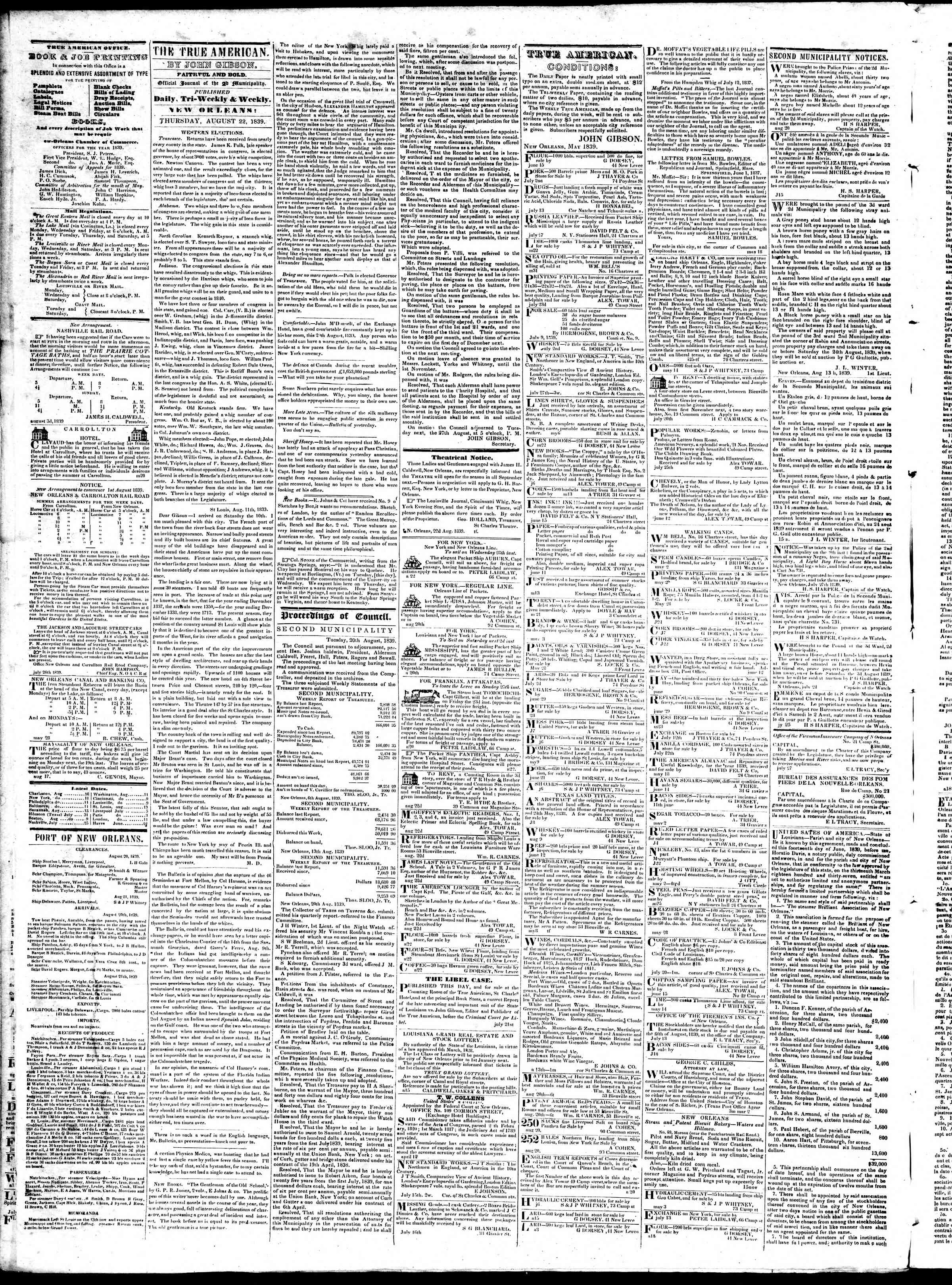 Newspaper of True American dated August 22, 1839 Page 2