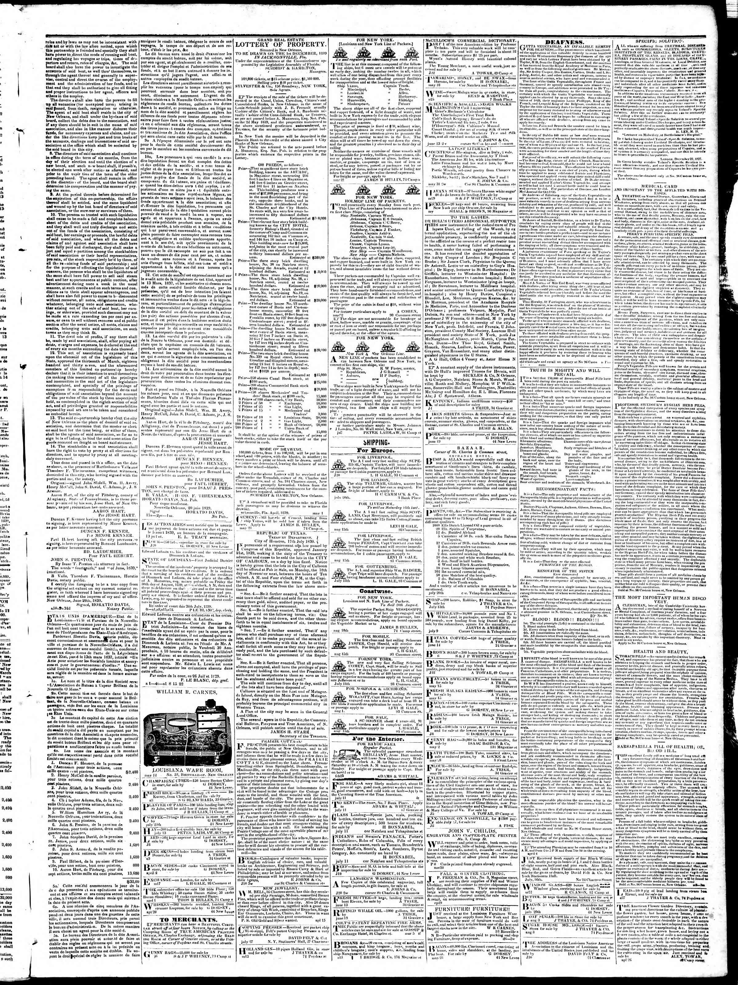 Newspaper of True American dated August 22, 1839 Page 3
