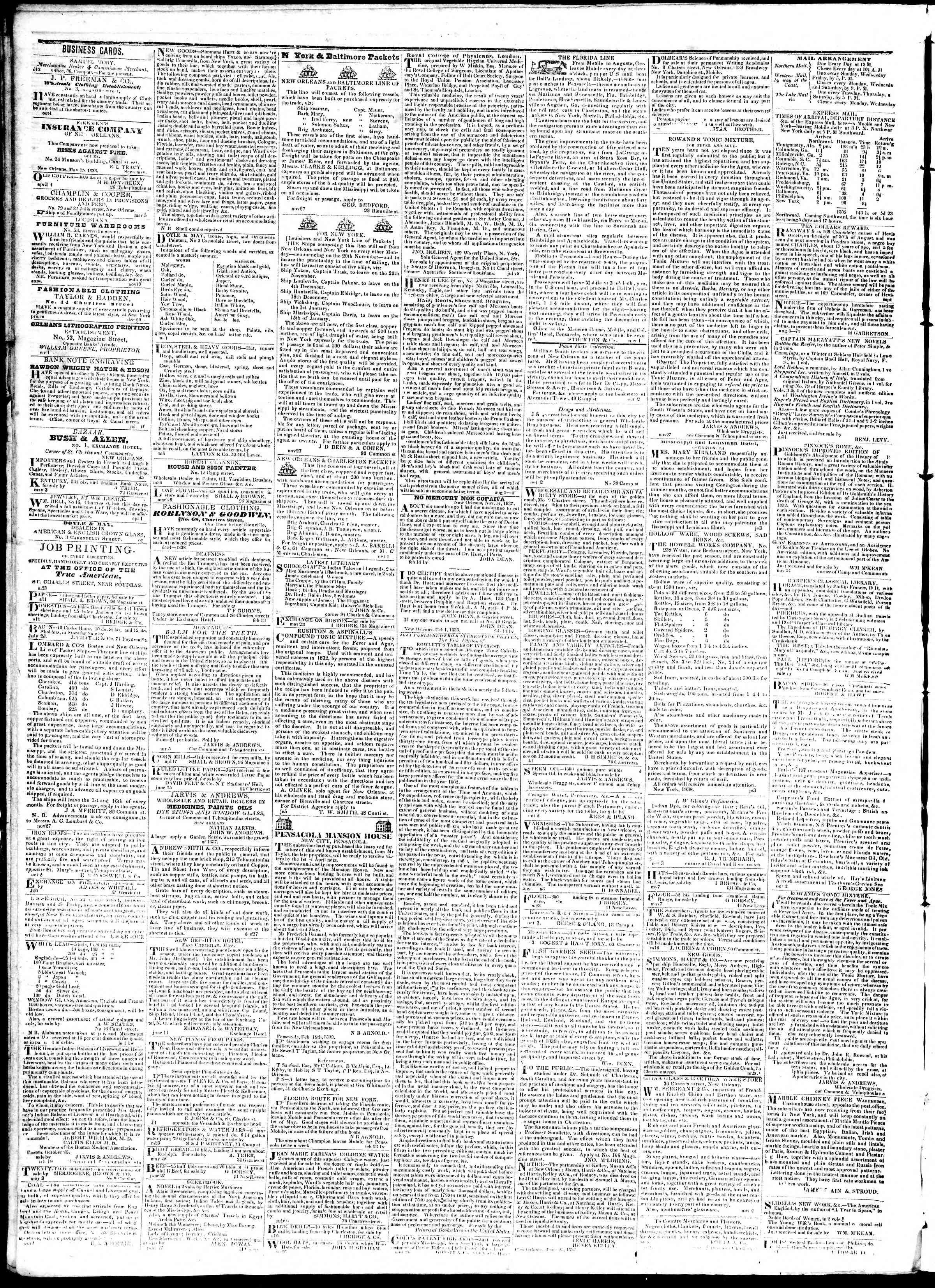 August 24, 1839 Tarihli True American Gazetesi Sayfa 4