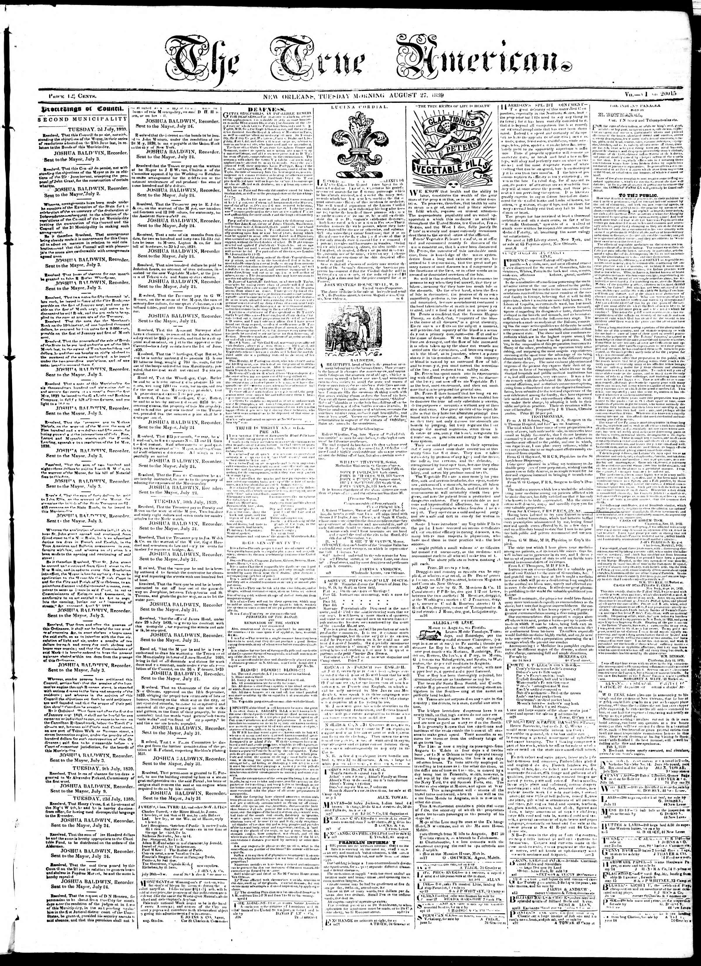 Newspaper of True American dated August 27, 1839 Page 1