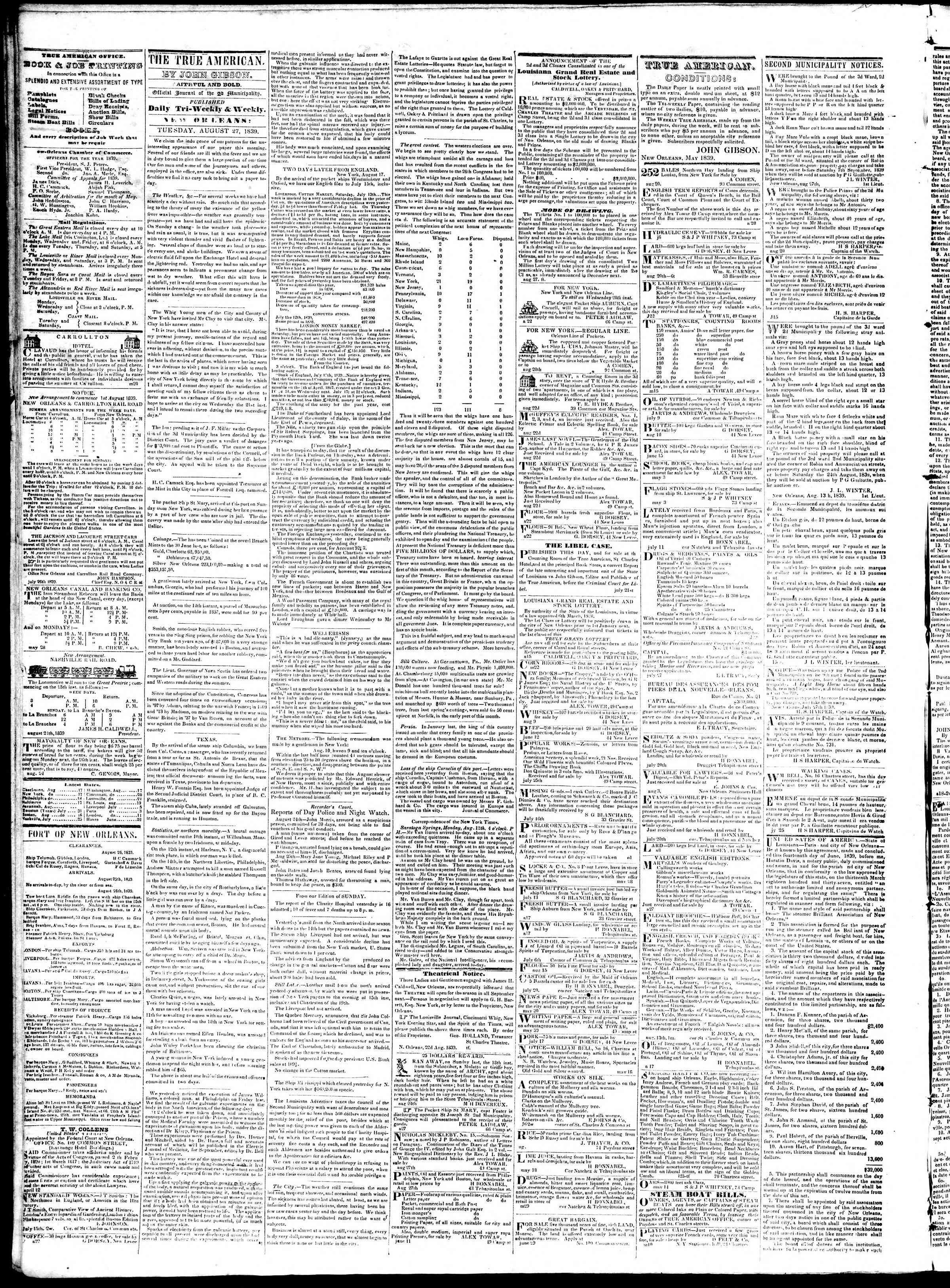 Newspaper of True American dated August 27, 1839 Page 2