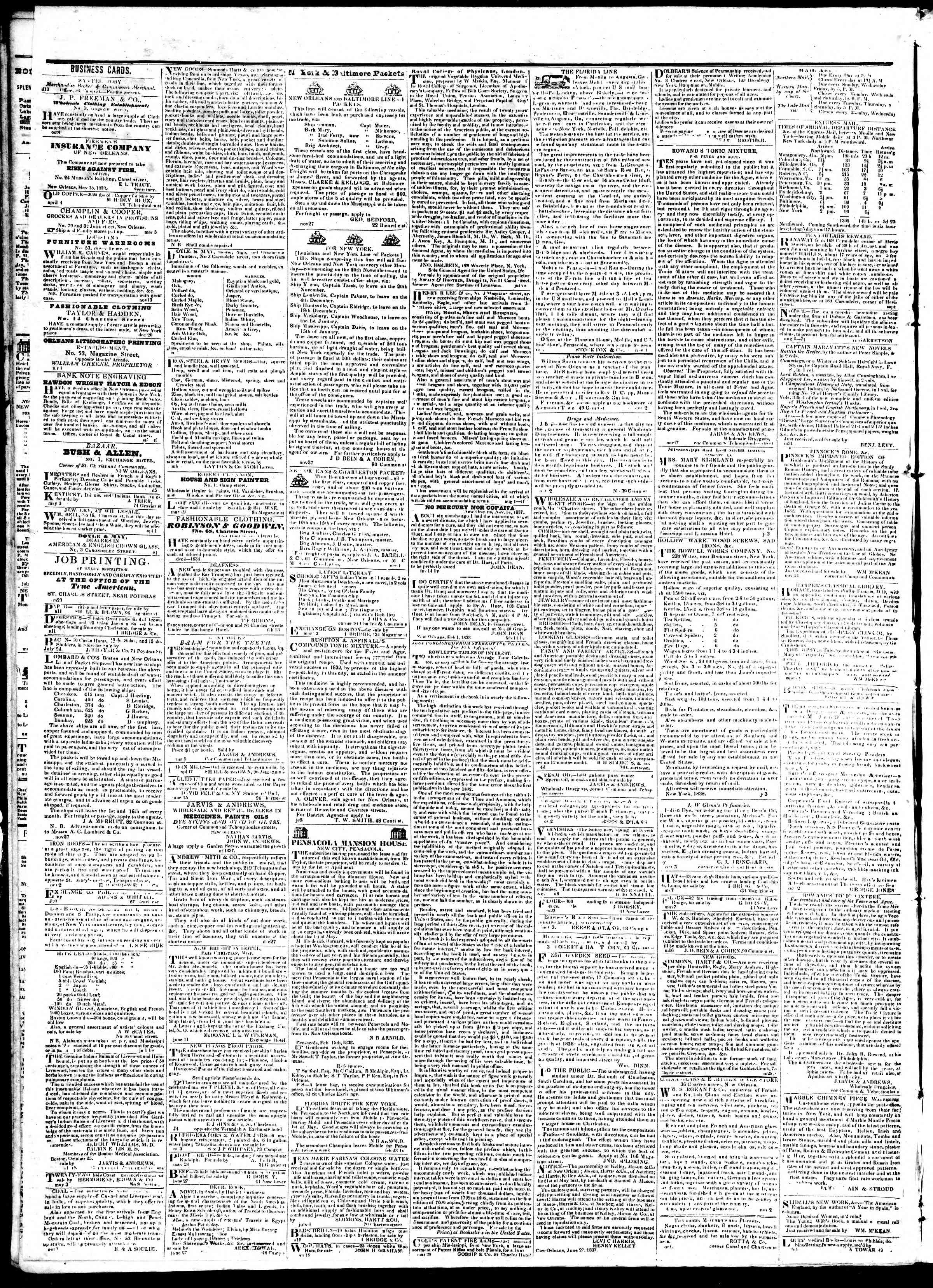 August 27, 1839 Tarihli True American Gazetesi Sayfa 4