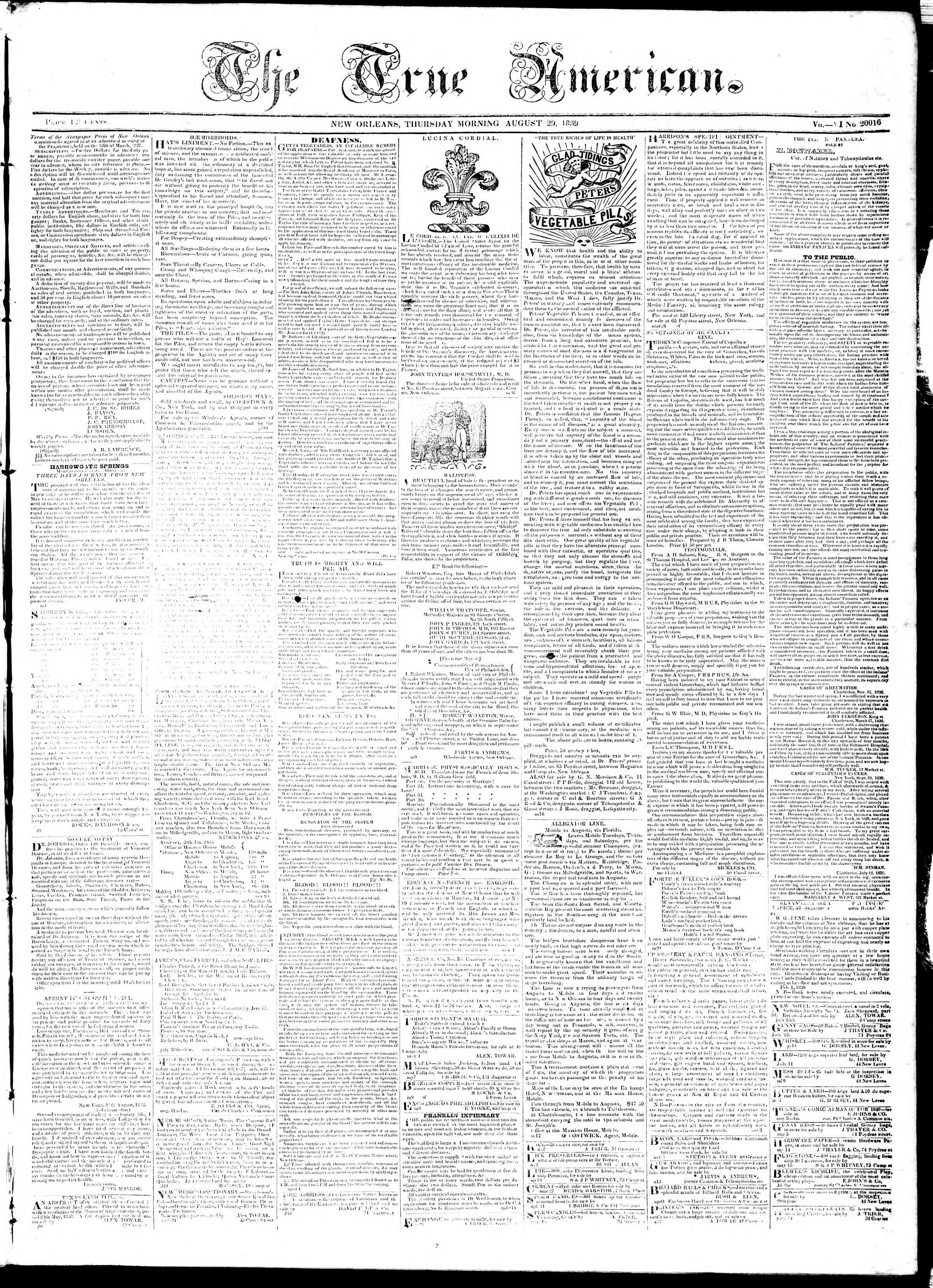 August 29, 1839 Tarihli True American Gazetesi Sayfa 1