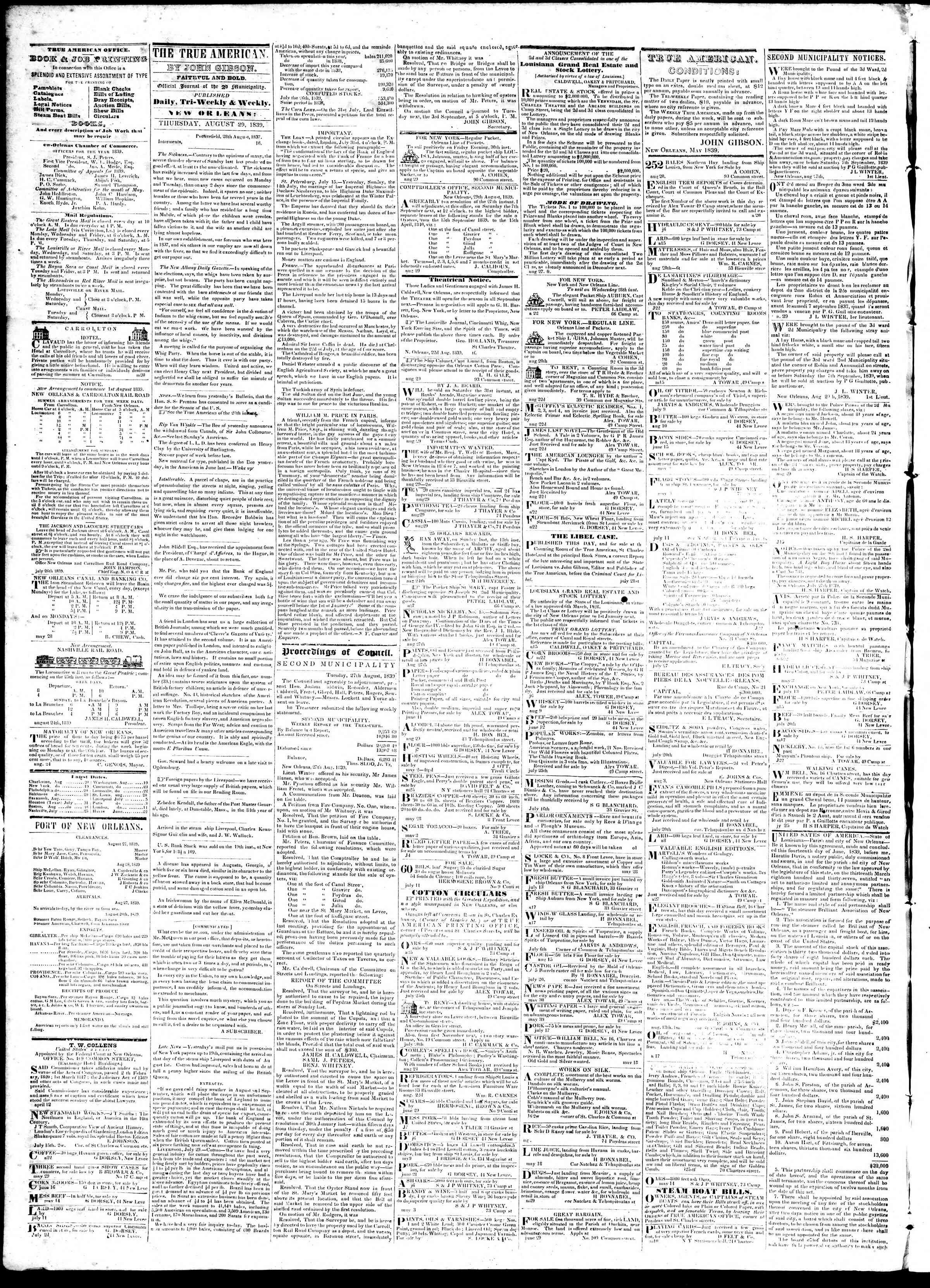 August 29, 1839 Tarihli True American Gazetesi Sayfa 2