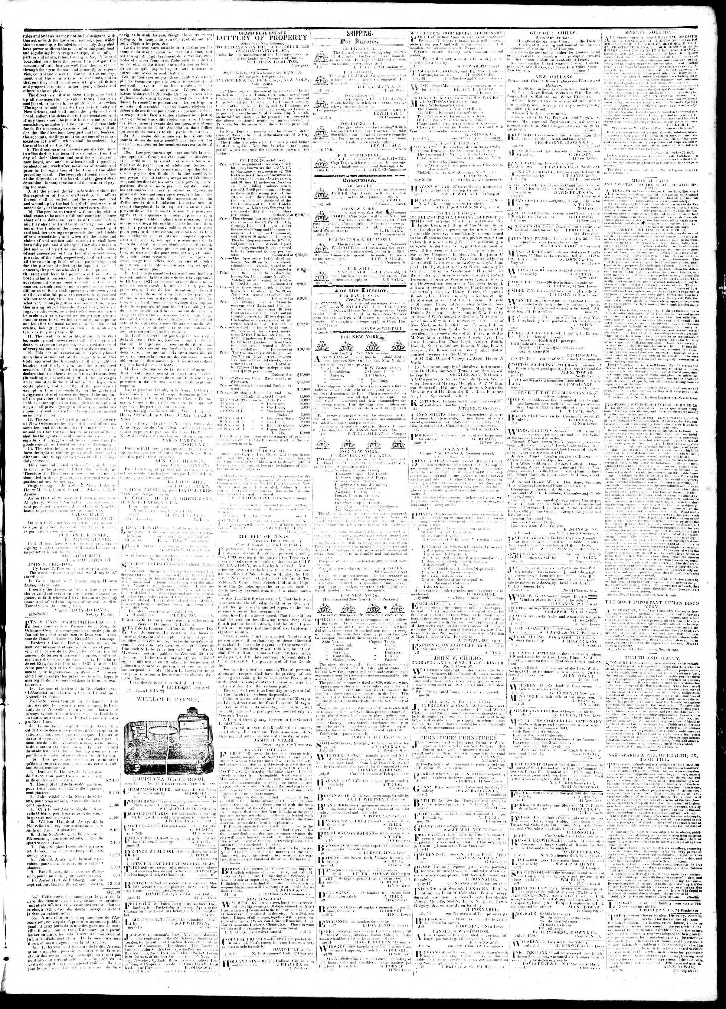 August 29, 1839 Tarihli True American Gazetesi Sayfa 3