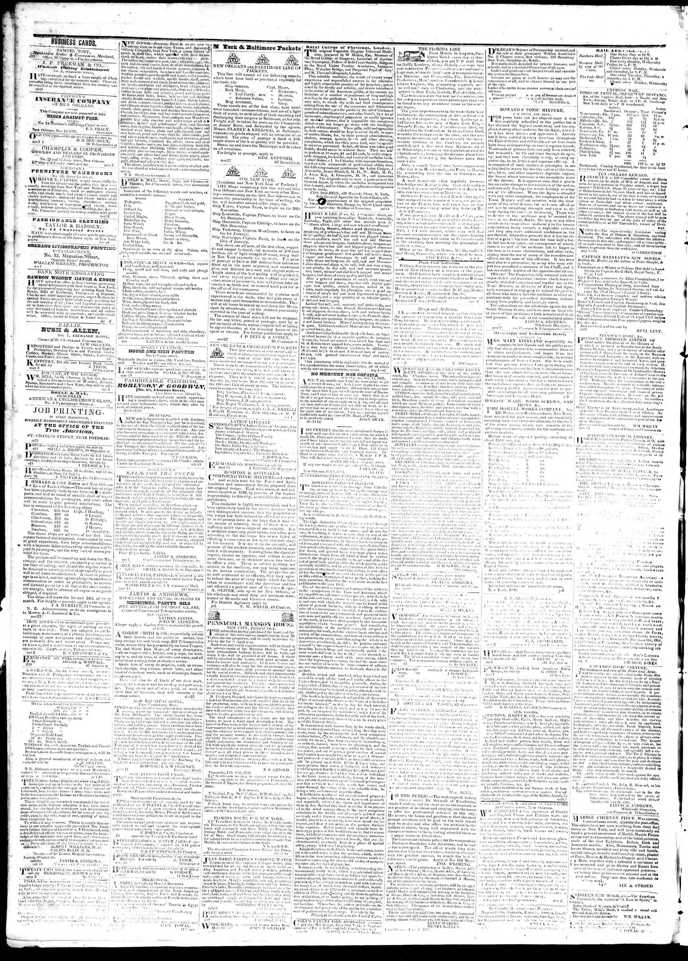 August 29, 1839 Tarihli True American Gazetesi Sayfa 4