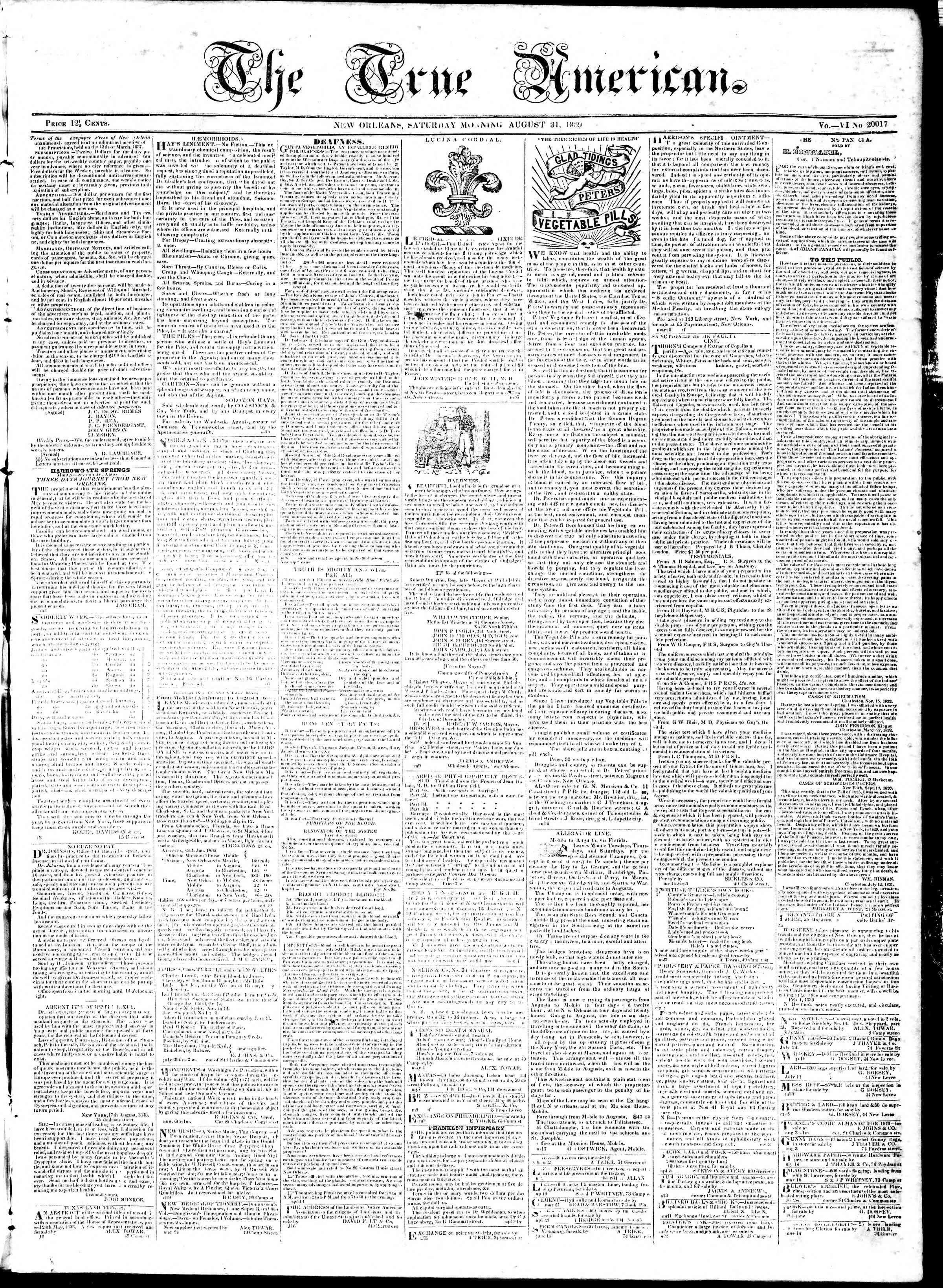 31 Ağustos 1839 Tarihli True American Gazetesi Sayfa 1