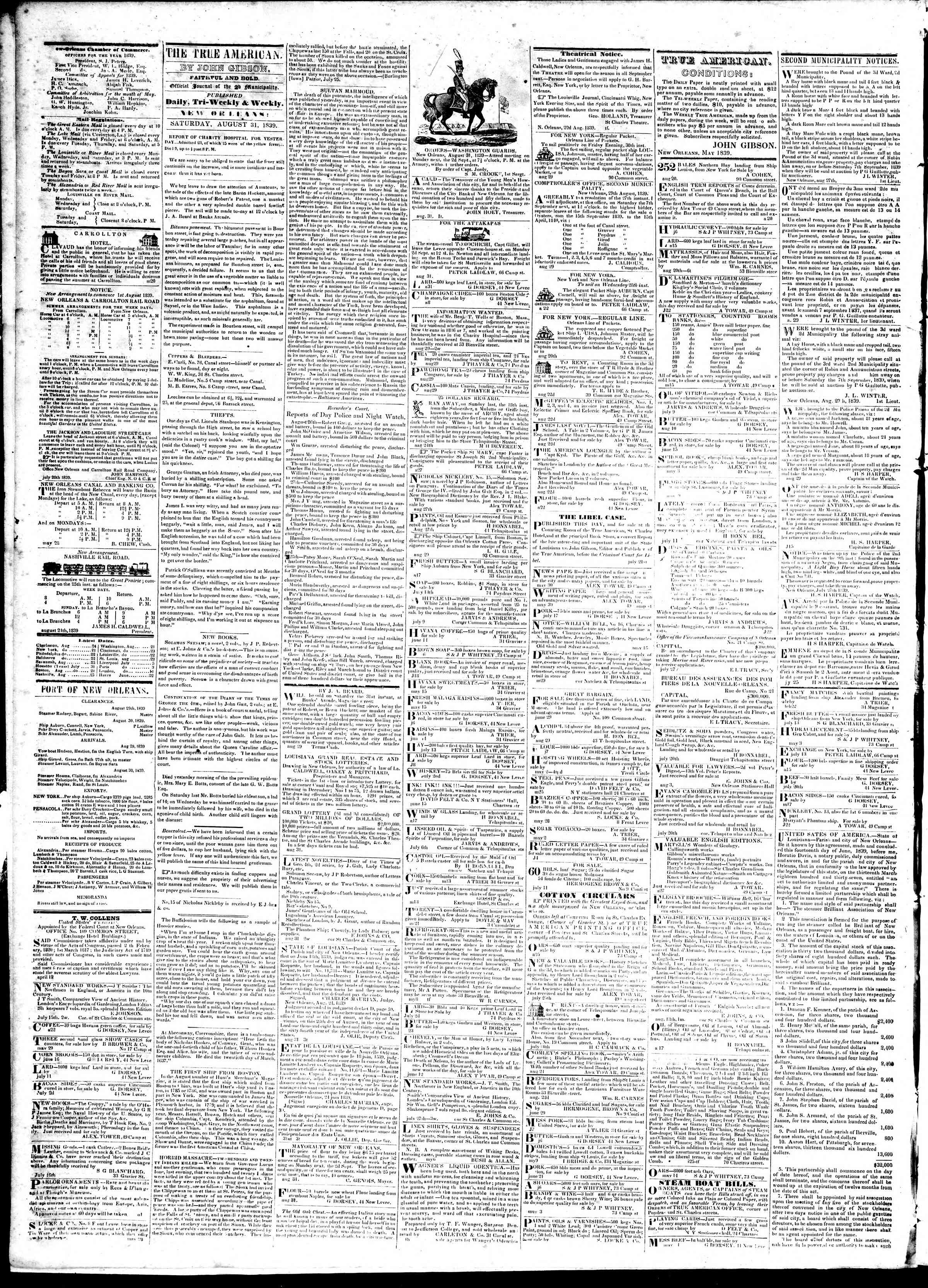 August 31, 1839 Tarihli True American Gazetesi Sayfa 2