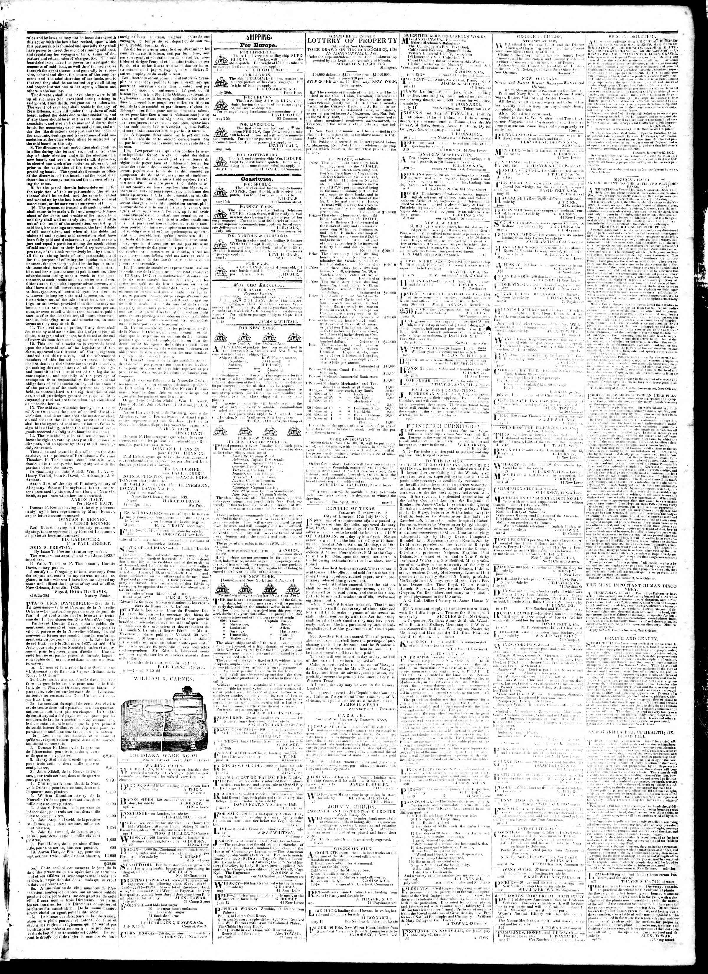 Newspaper of True American dated August 31, 1839 Page 3