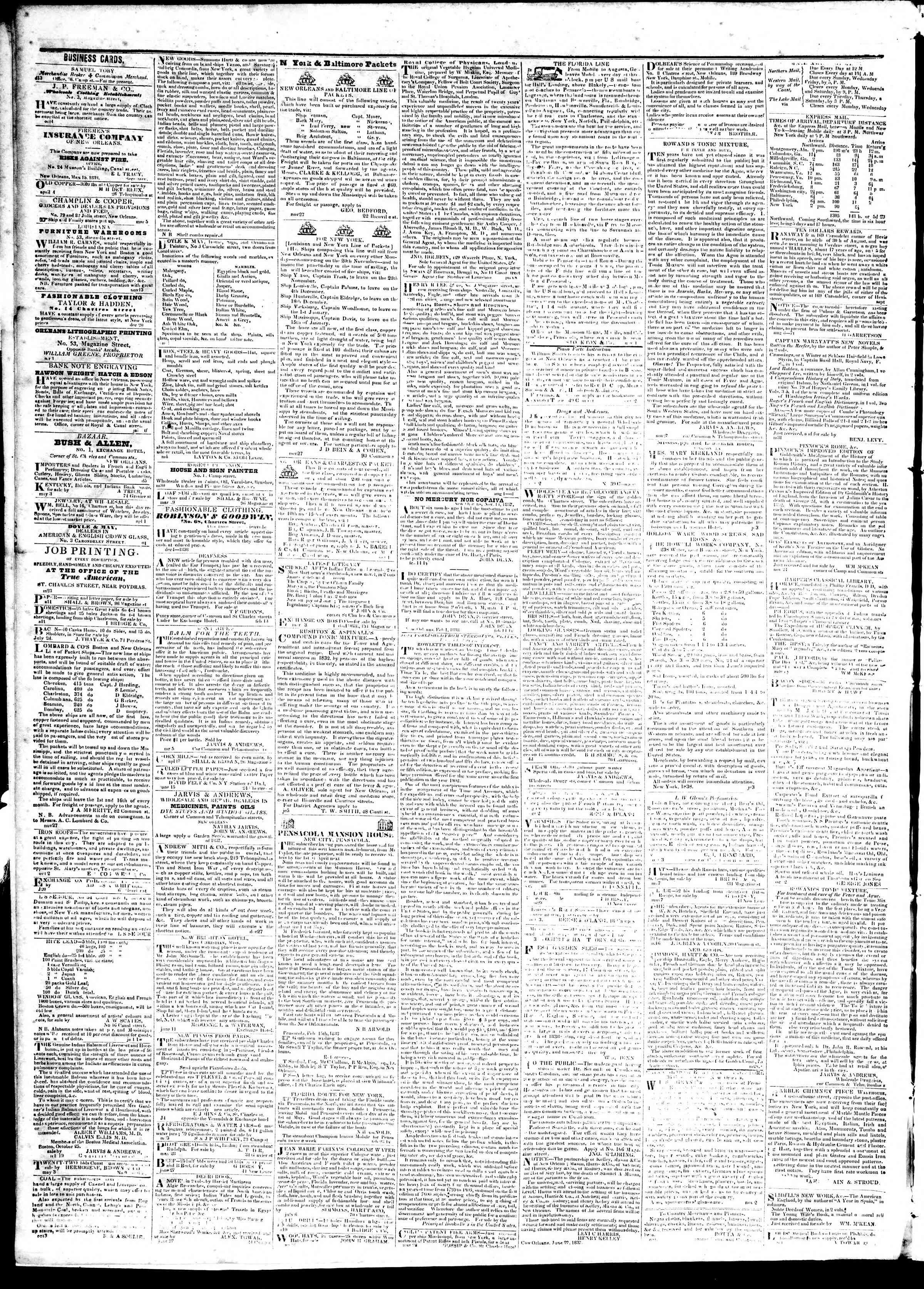 31 Ağustos 1839 tarihli True American Gazetesi Sayfa 4