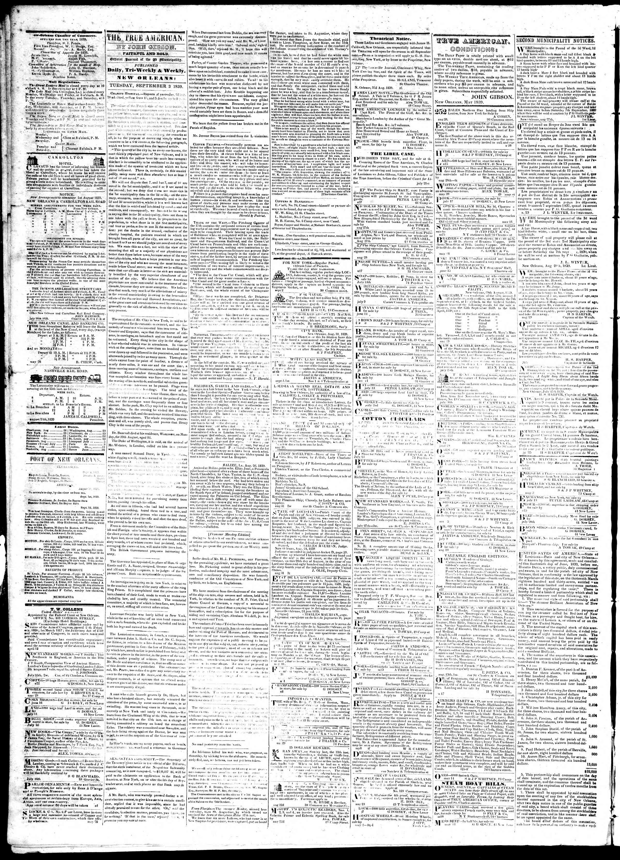 Newspaper of True American dated September 3, 1839 Page 2