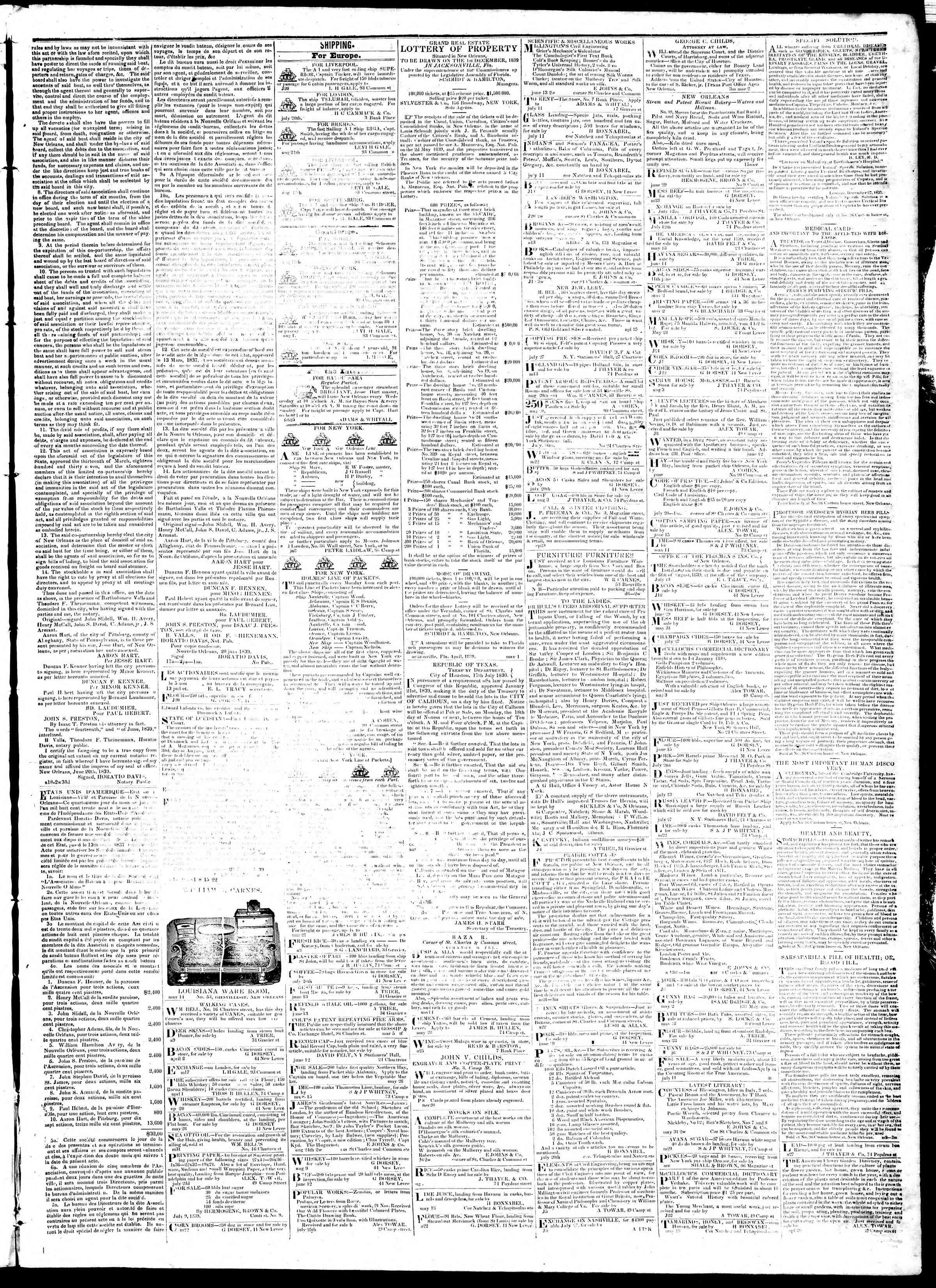 September 3, 1839 Tarihli True American Gazetesi Sayfa 3