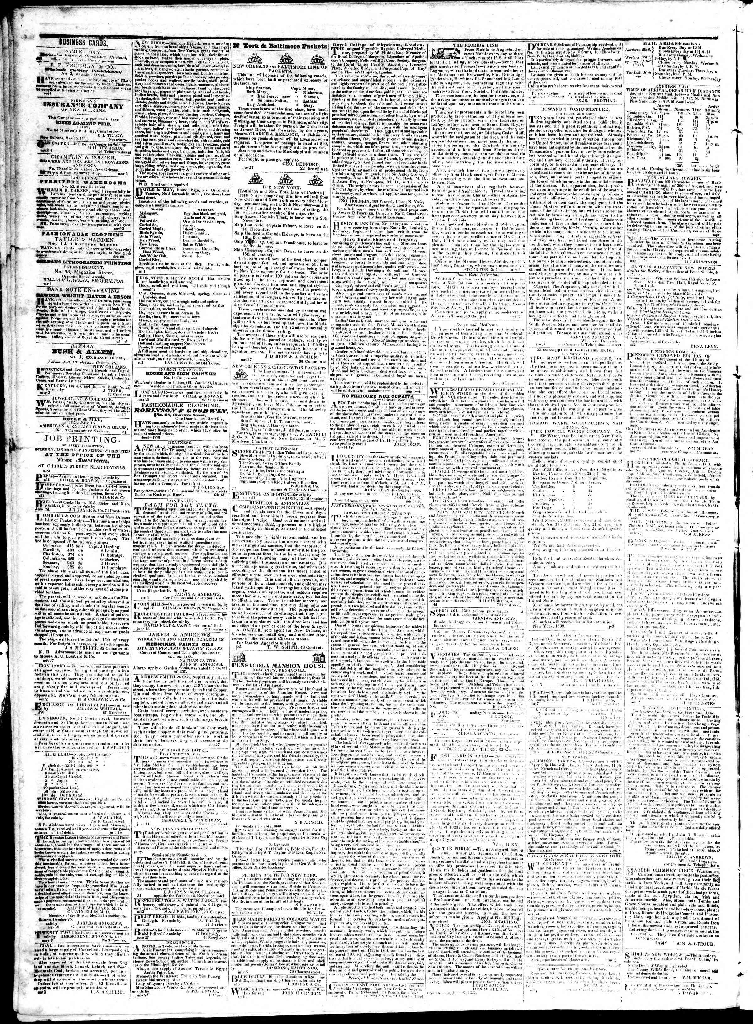 September 3, 1839 Tarihli True American Gazetesi Sayfa 4
