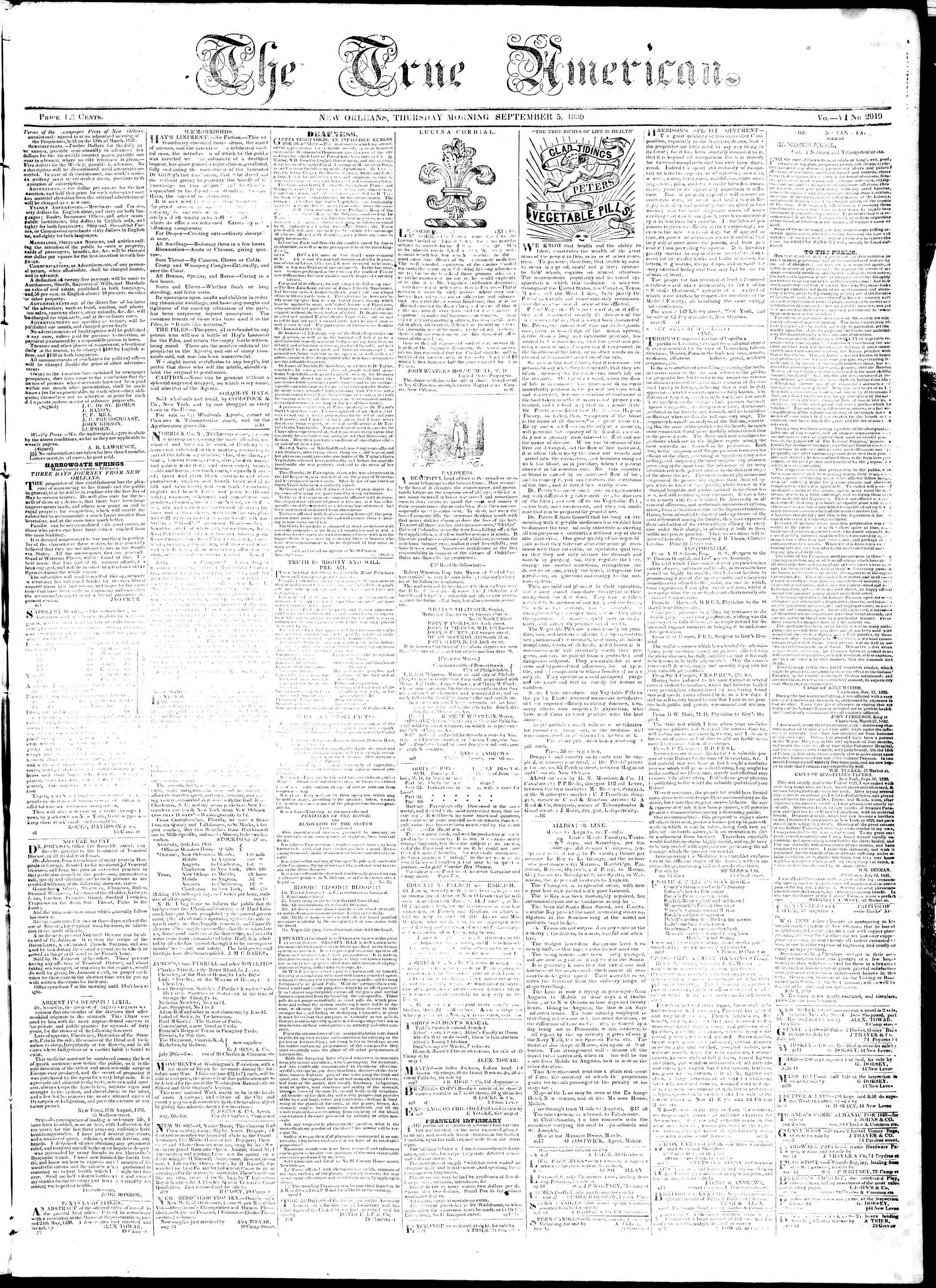 Newspaper of True American dated September 5, 1839 Page 1