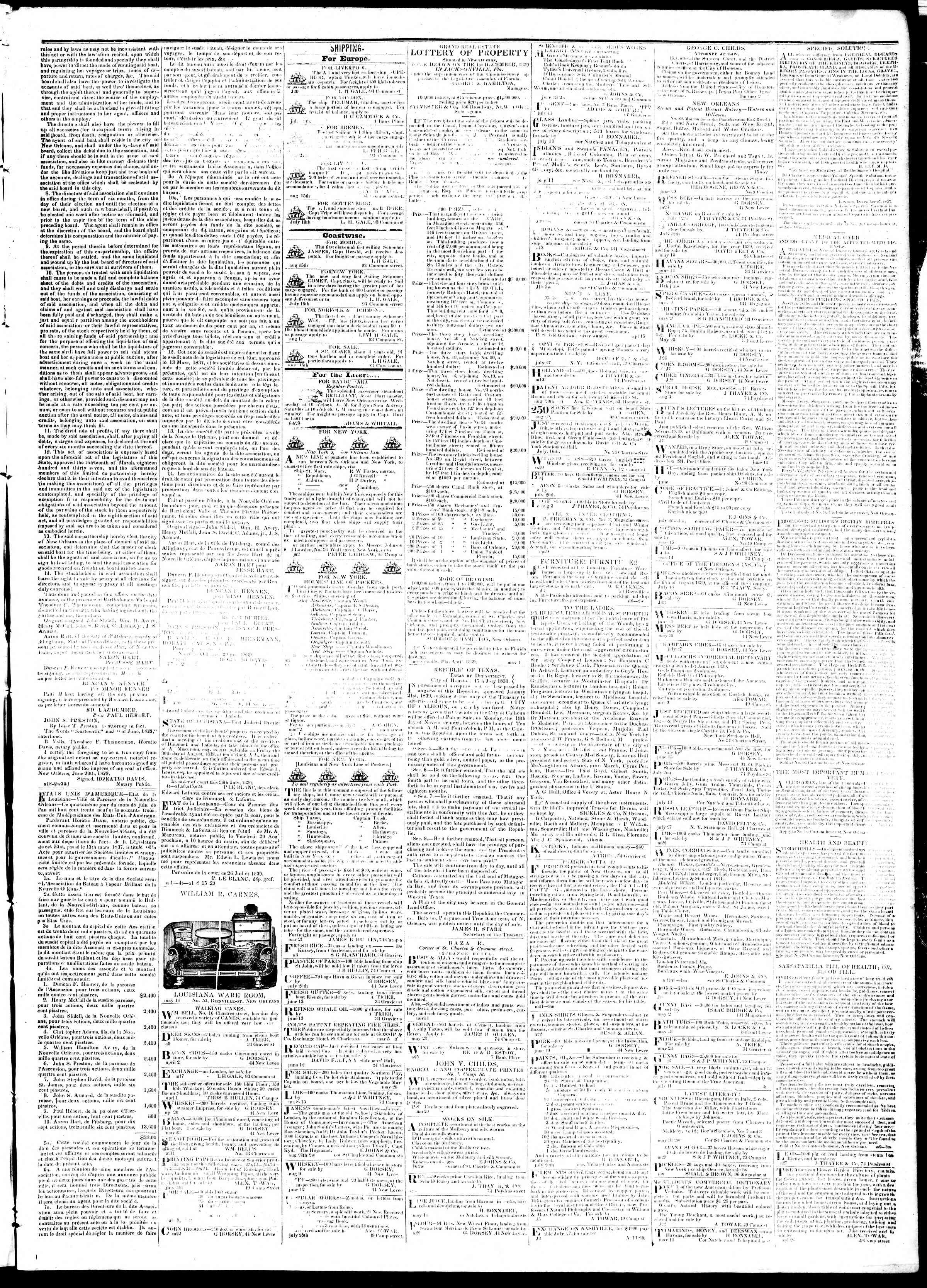 September 5, 1839 Tarihli True American Gazetesi Sayfa 3