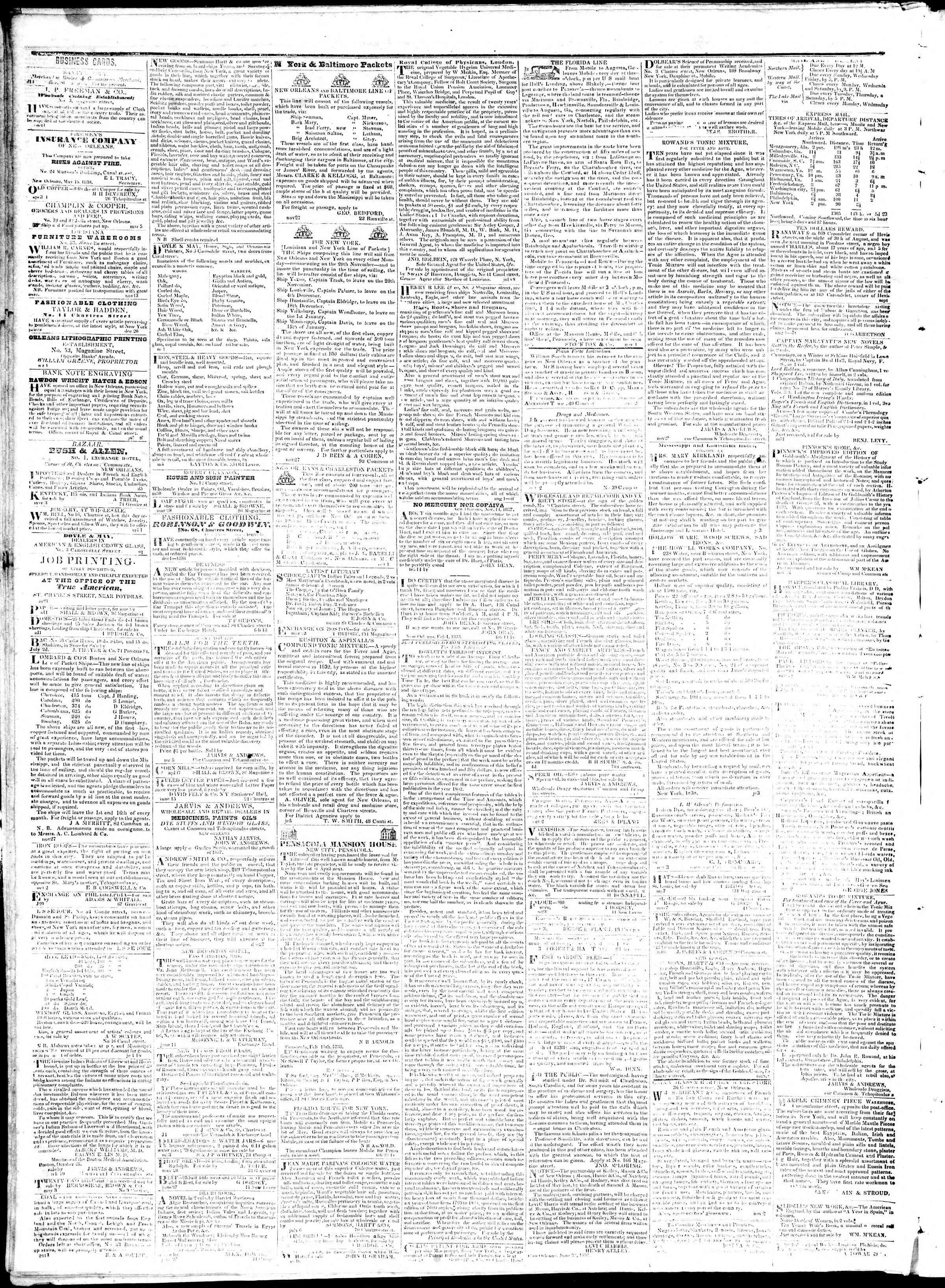 September 5, 1839 Tarihli True American Gazetesi Sayfa 4
