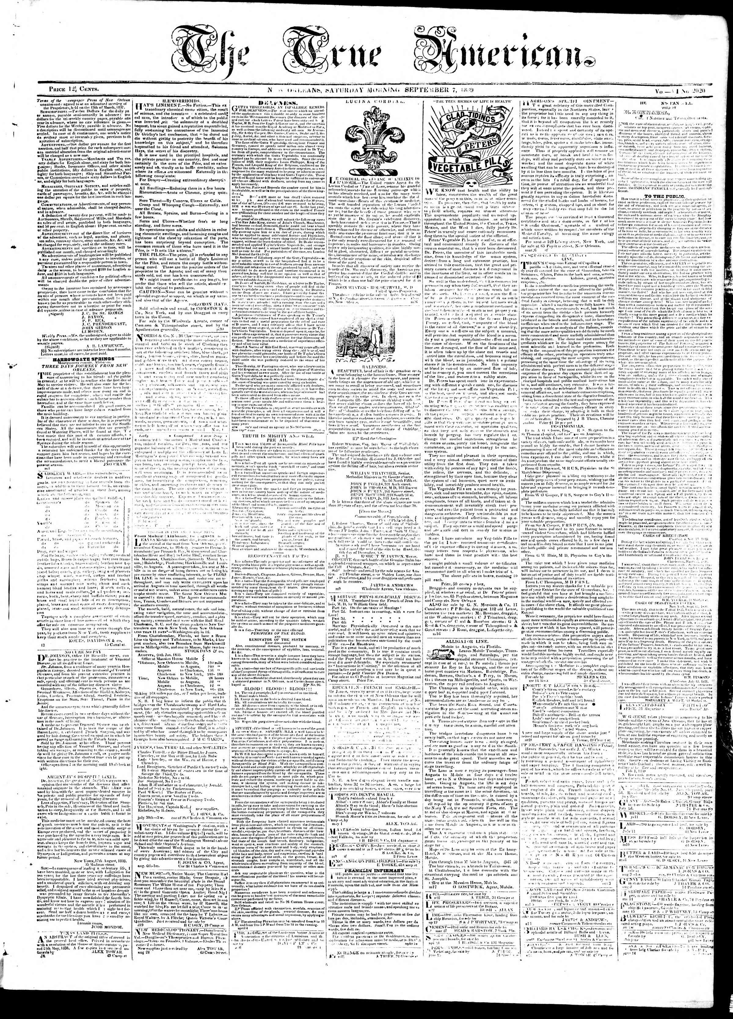 Newspaper of True American dated September 7, 1839 Page 1