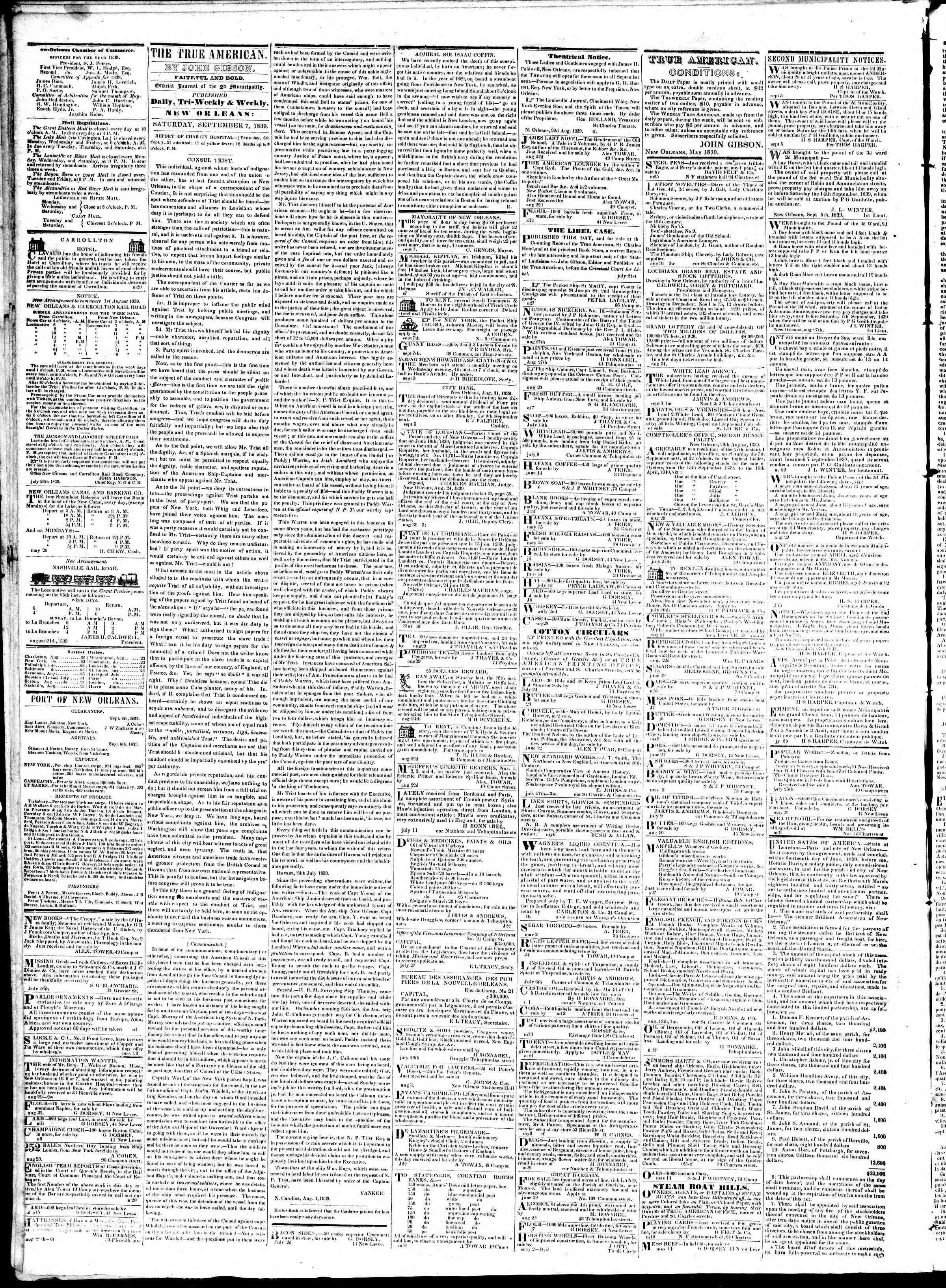 September 7, 1839 Tarihli True American Gazetesi Sayfa 2