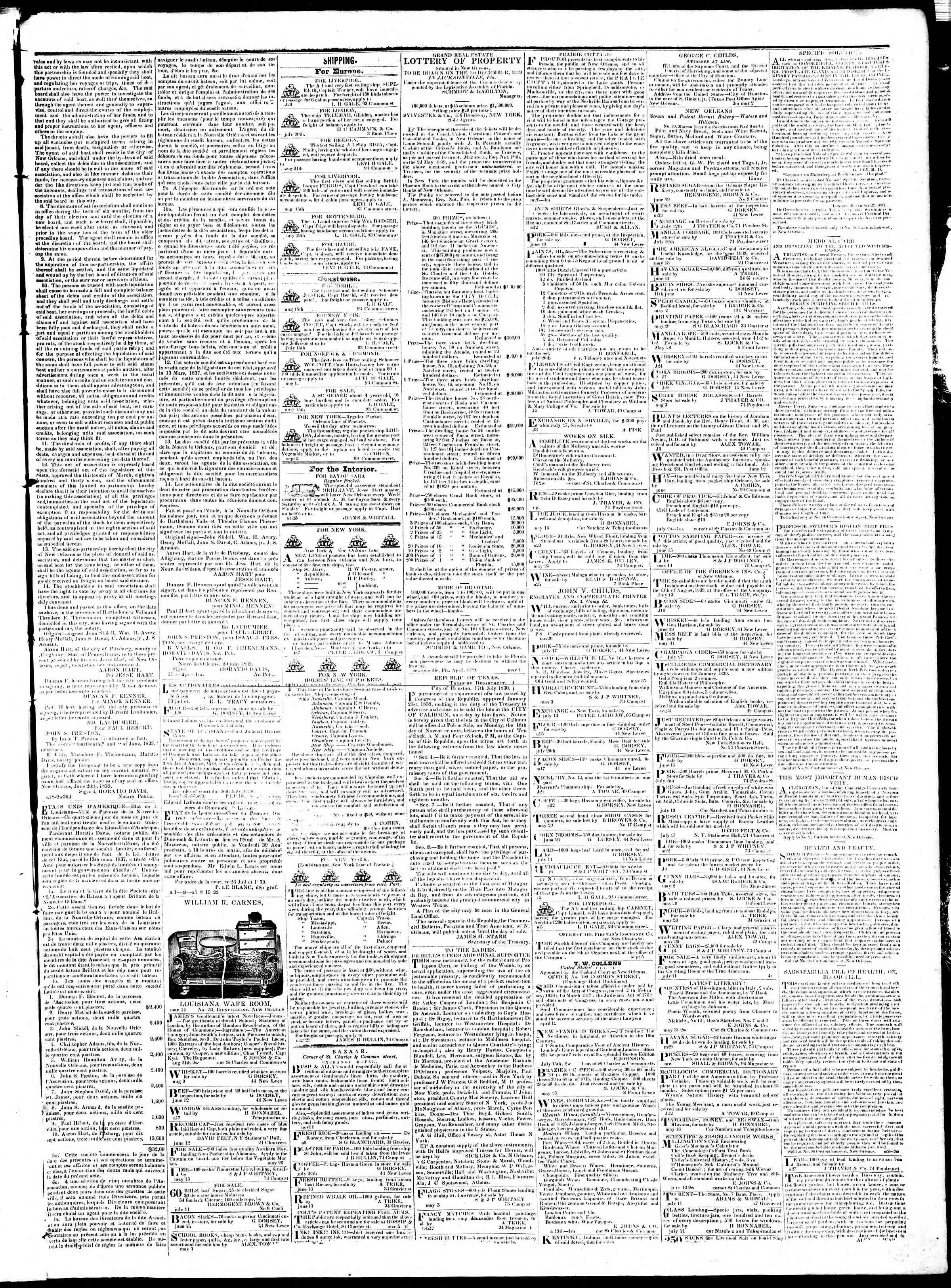 September 7, 1839 Tarihli True American Gazetesi Sayfa 3