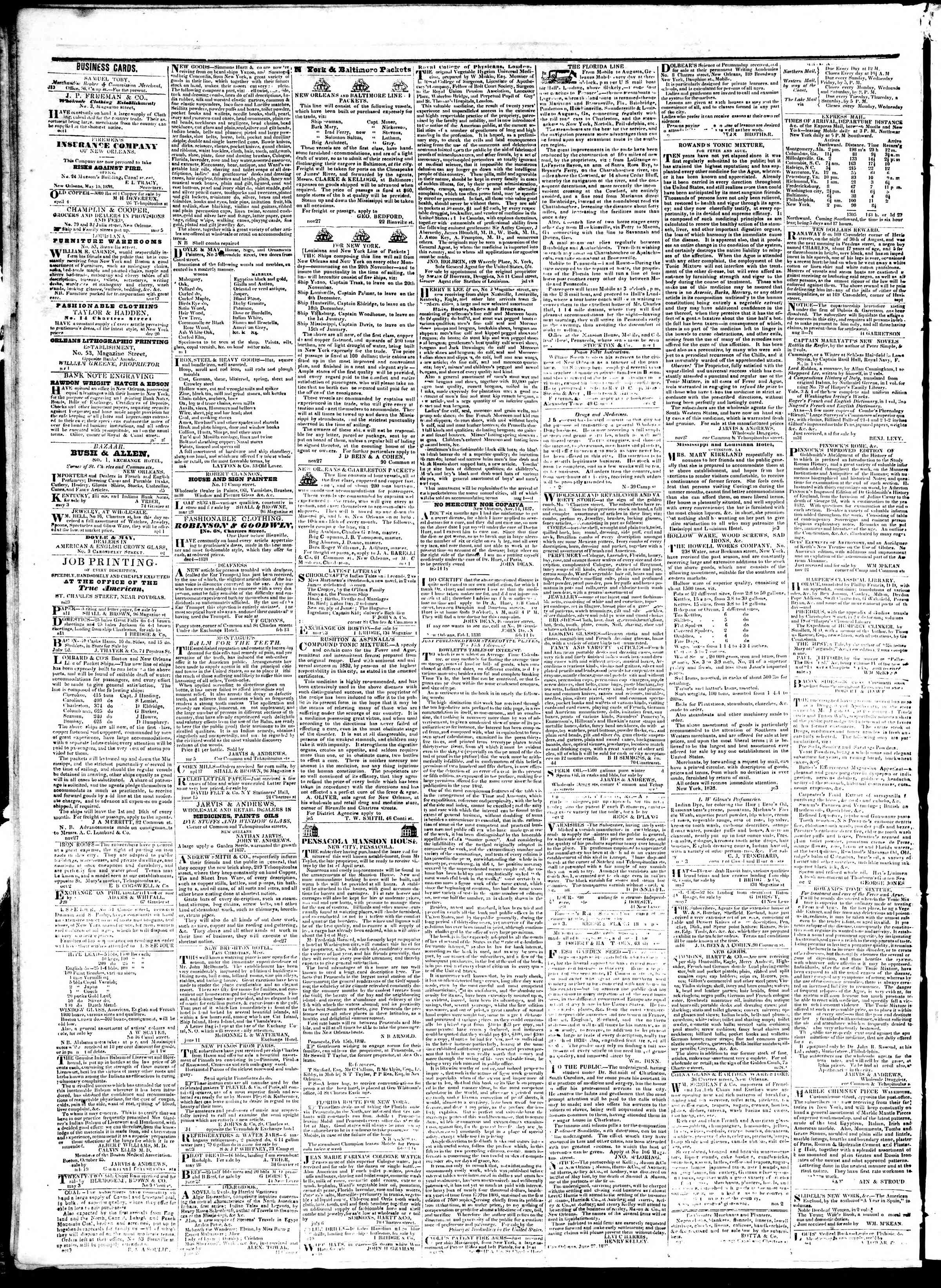 September 7, 1839 Tarihli True American Gazetesi Sayfa 4