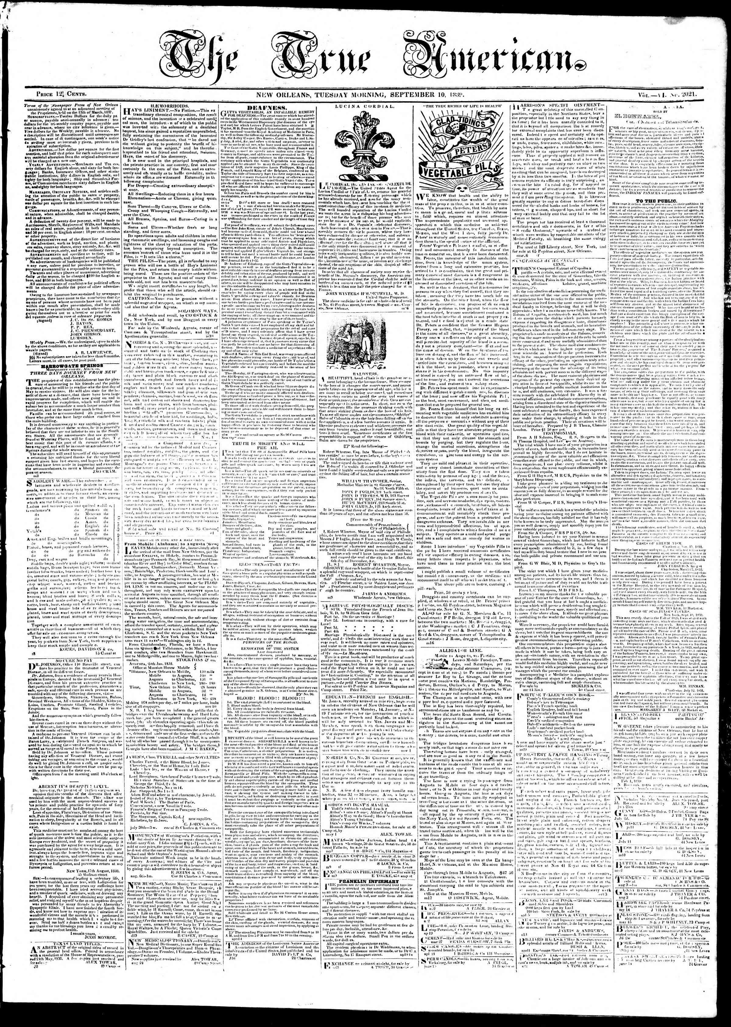 10 Eylül 1839 tarihli True American Gazetesi Sayfa 1