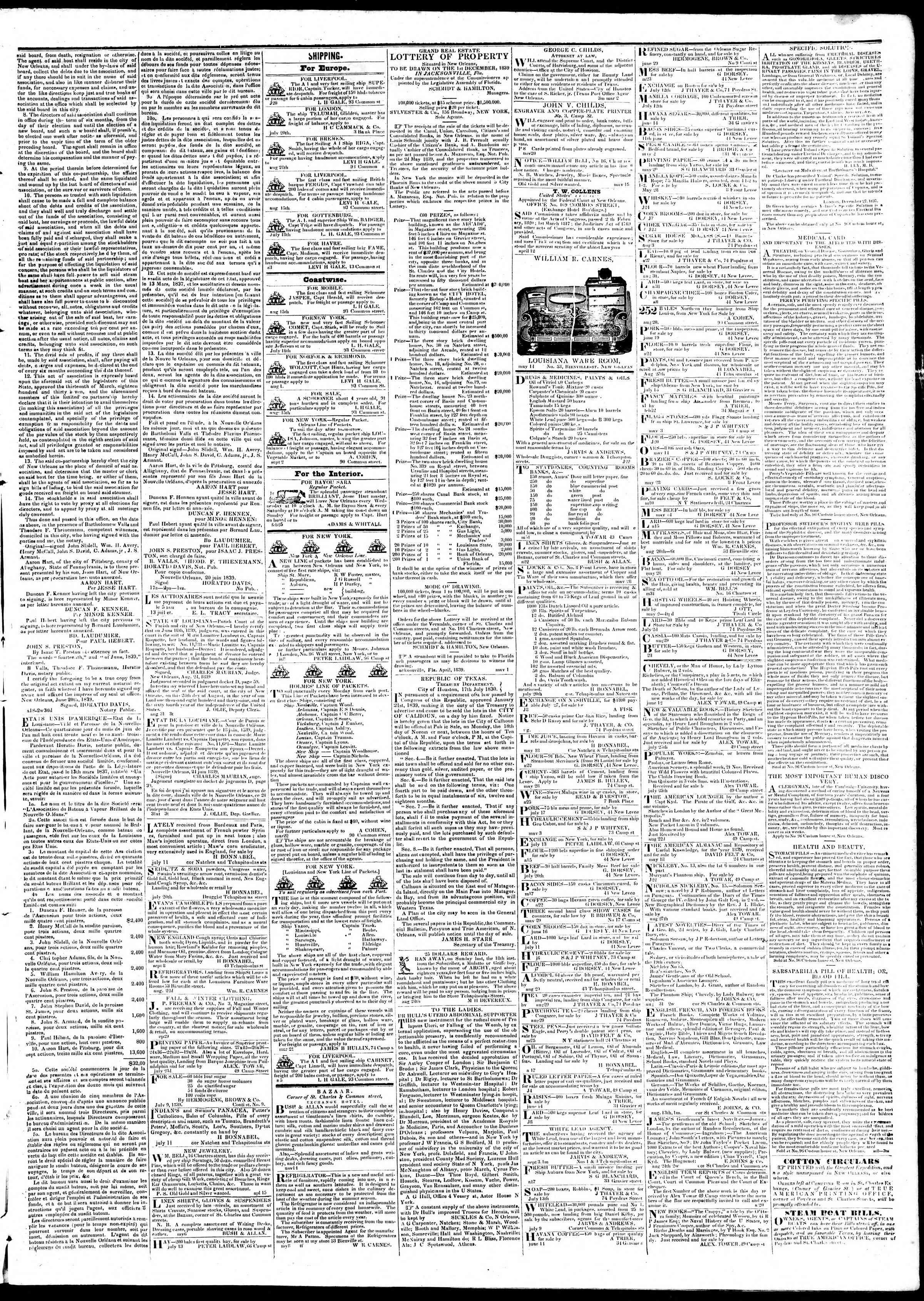 September 10, 1839 Tarihli True American Gazetesi Sayfa 3