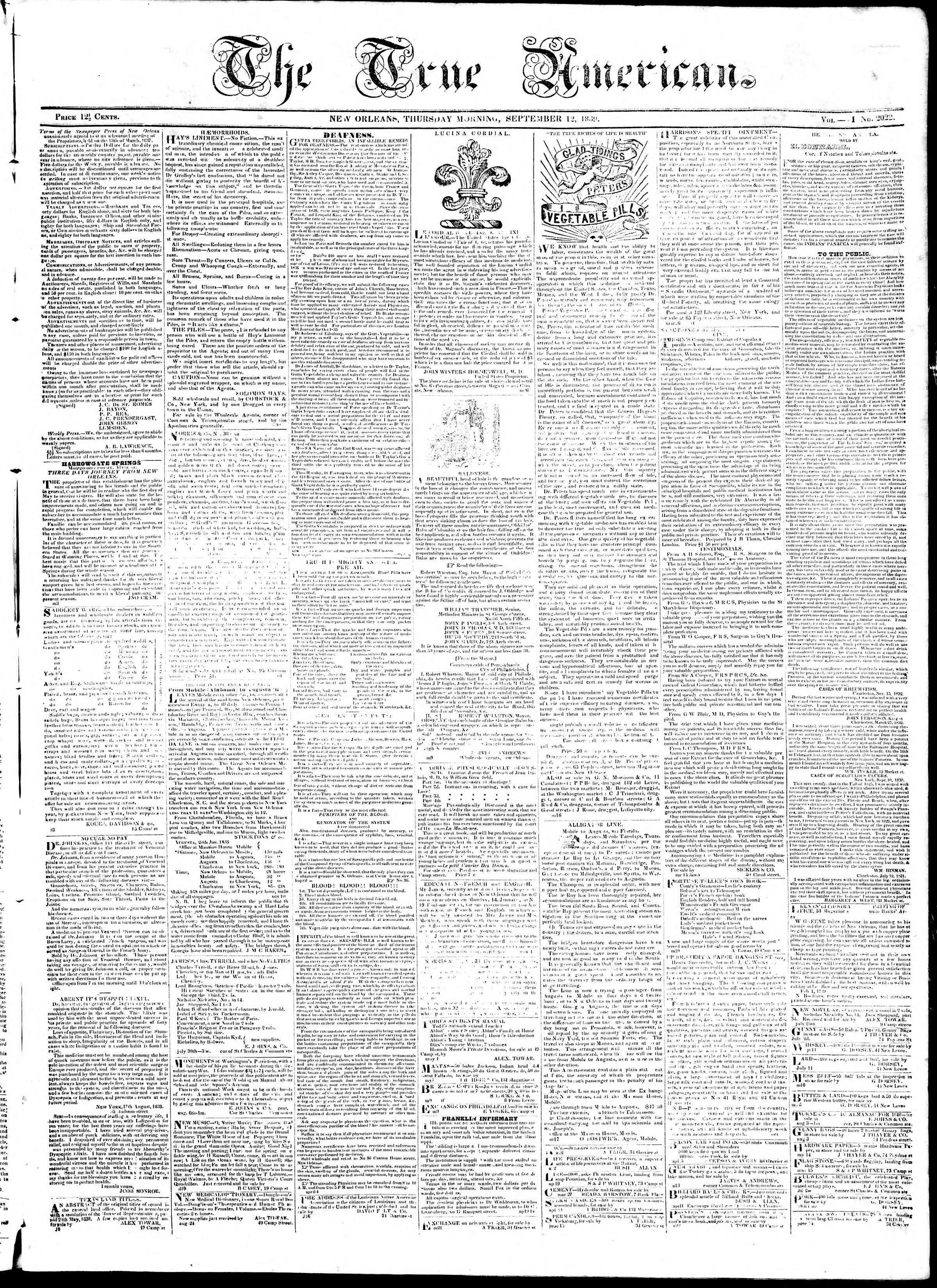 September 12, 1839 Tarihli True American Gazetesi Sayfa 1