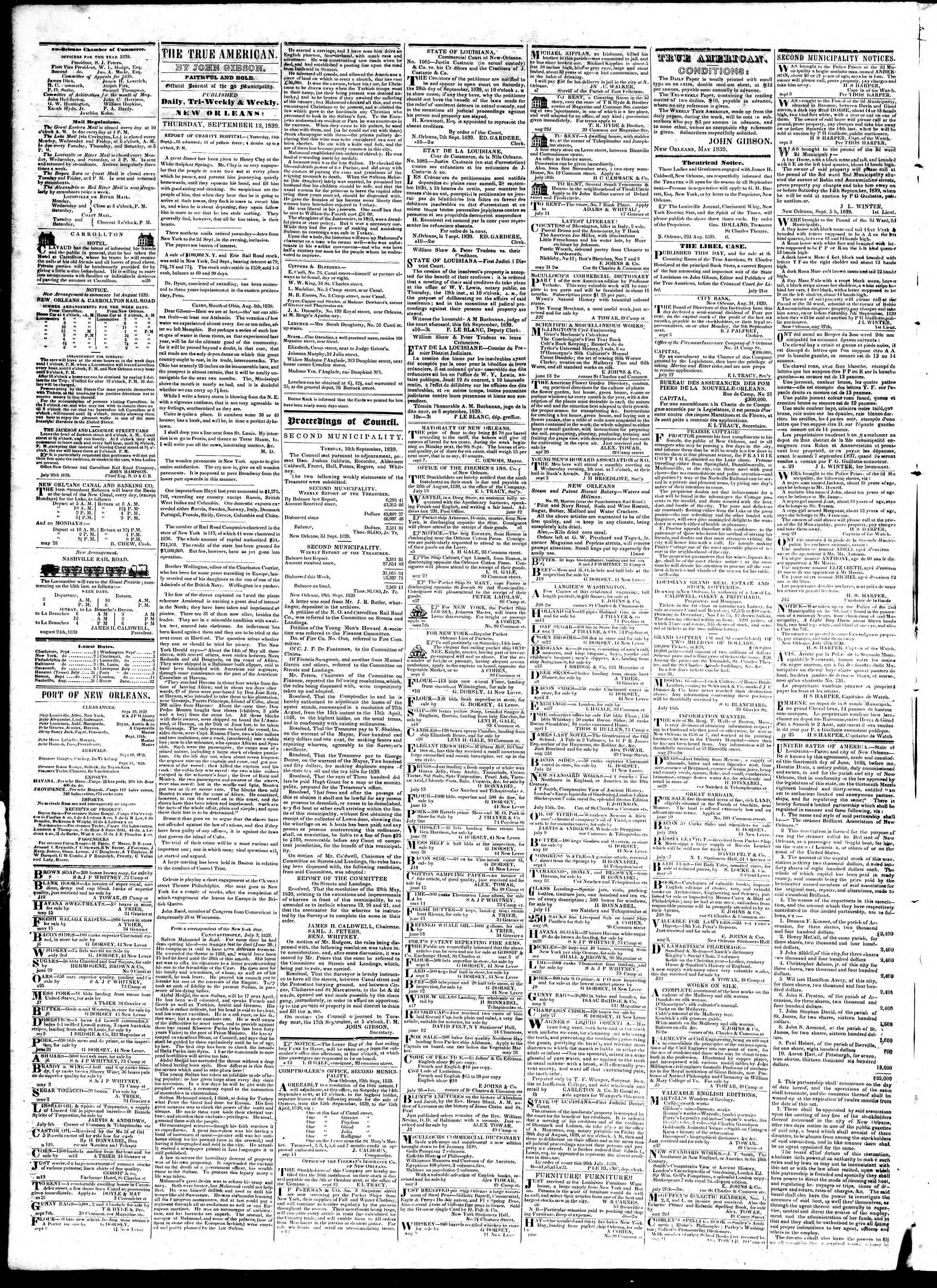 12 Eylül 1839 Tarihli True American Gazetesi Sayfa 2