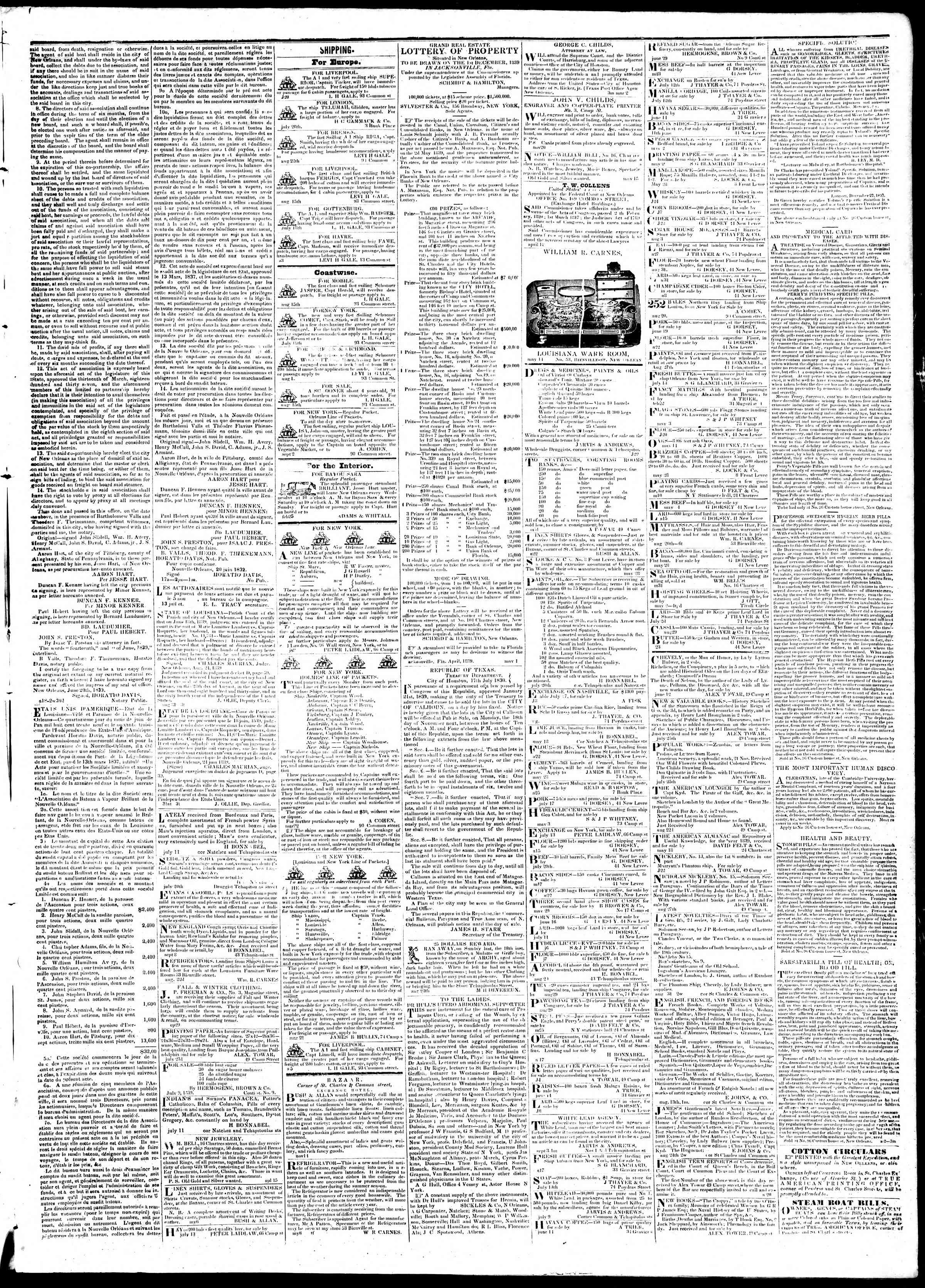 Newspaper of True American dated September 12, 1839 Page 3