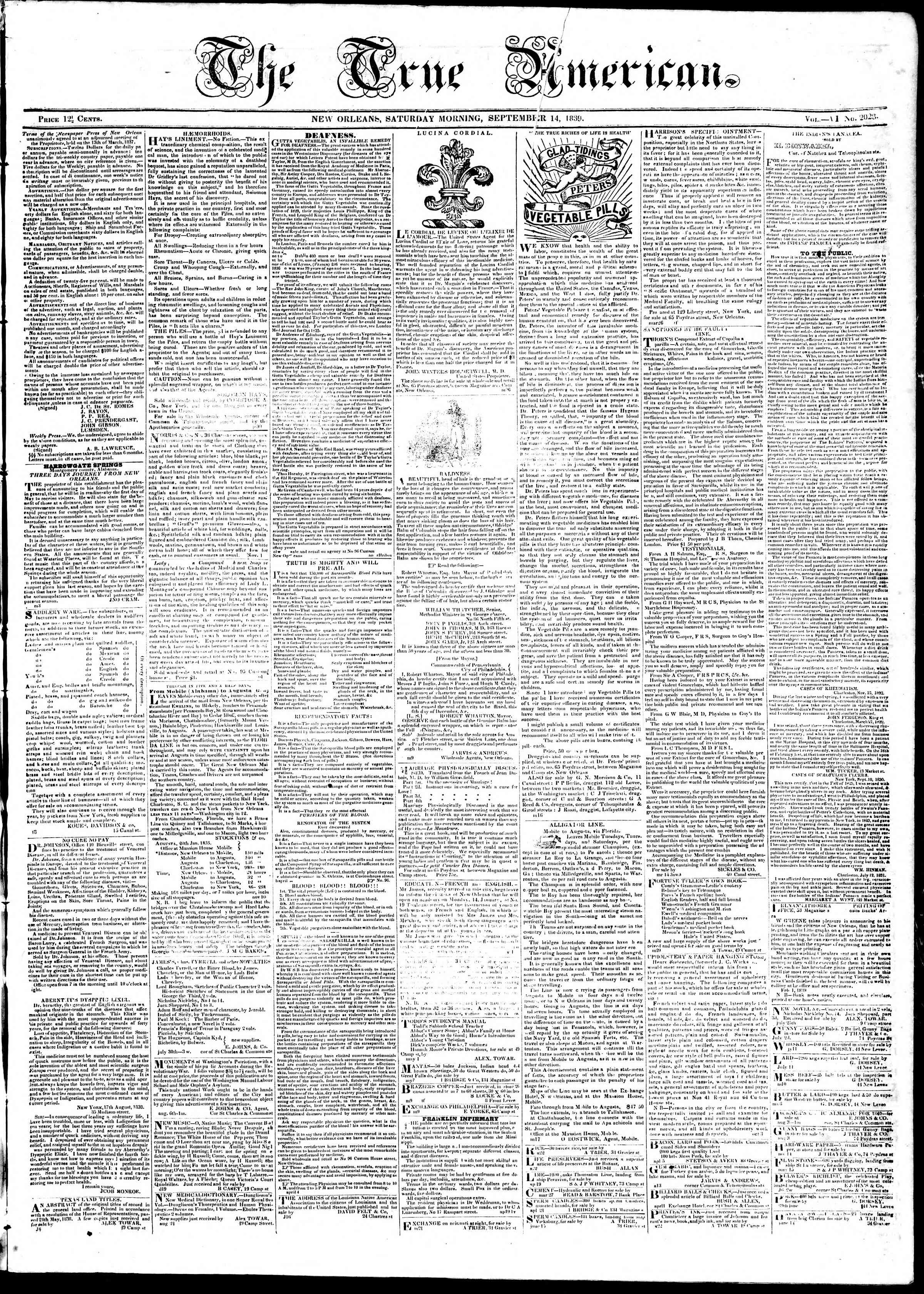 Newspaper of True American dated September 14, 1839 Page 1