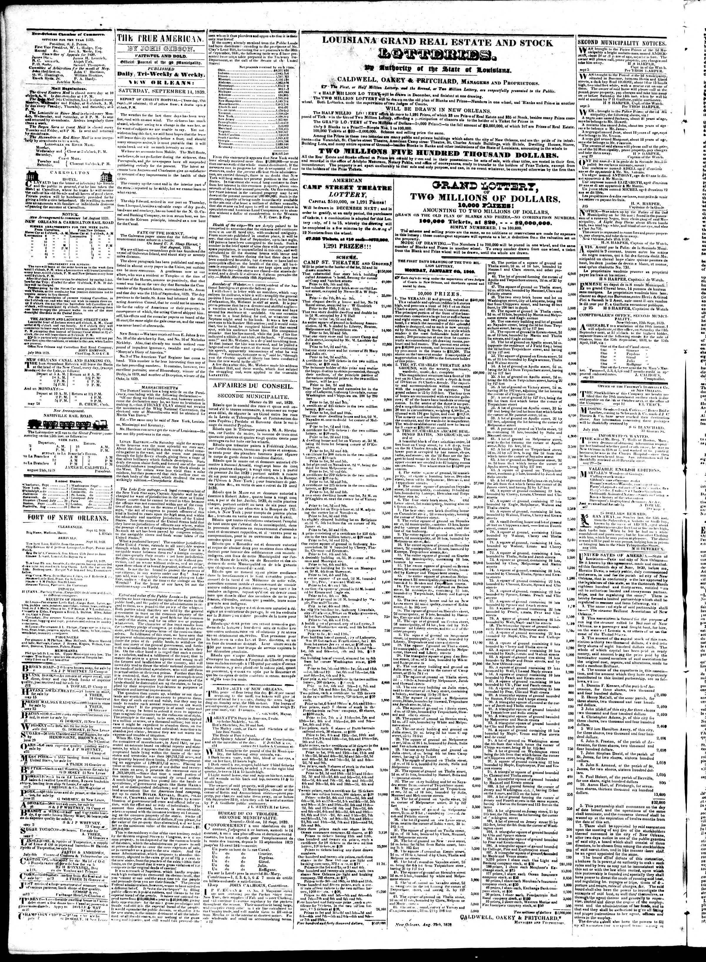 Newspaper of True American dated September 14, 1839 Page 2