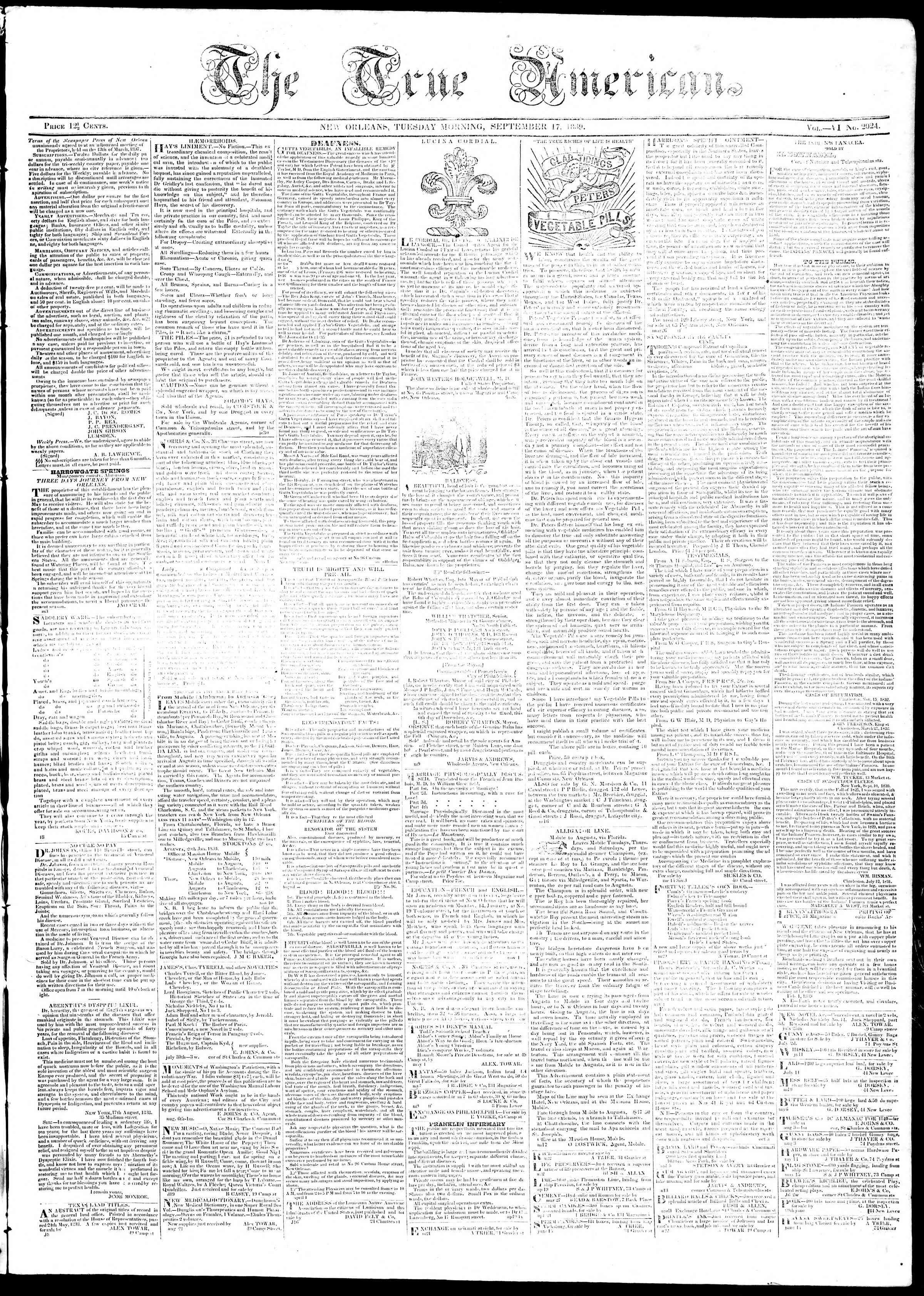 September 17, 1839 Tarihli True American Gazetesi Sayfa 1