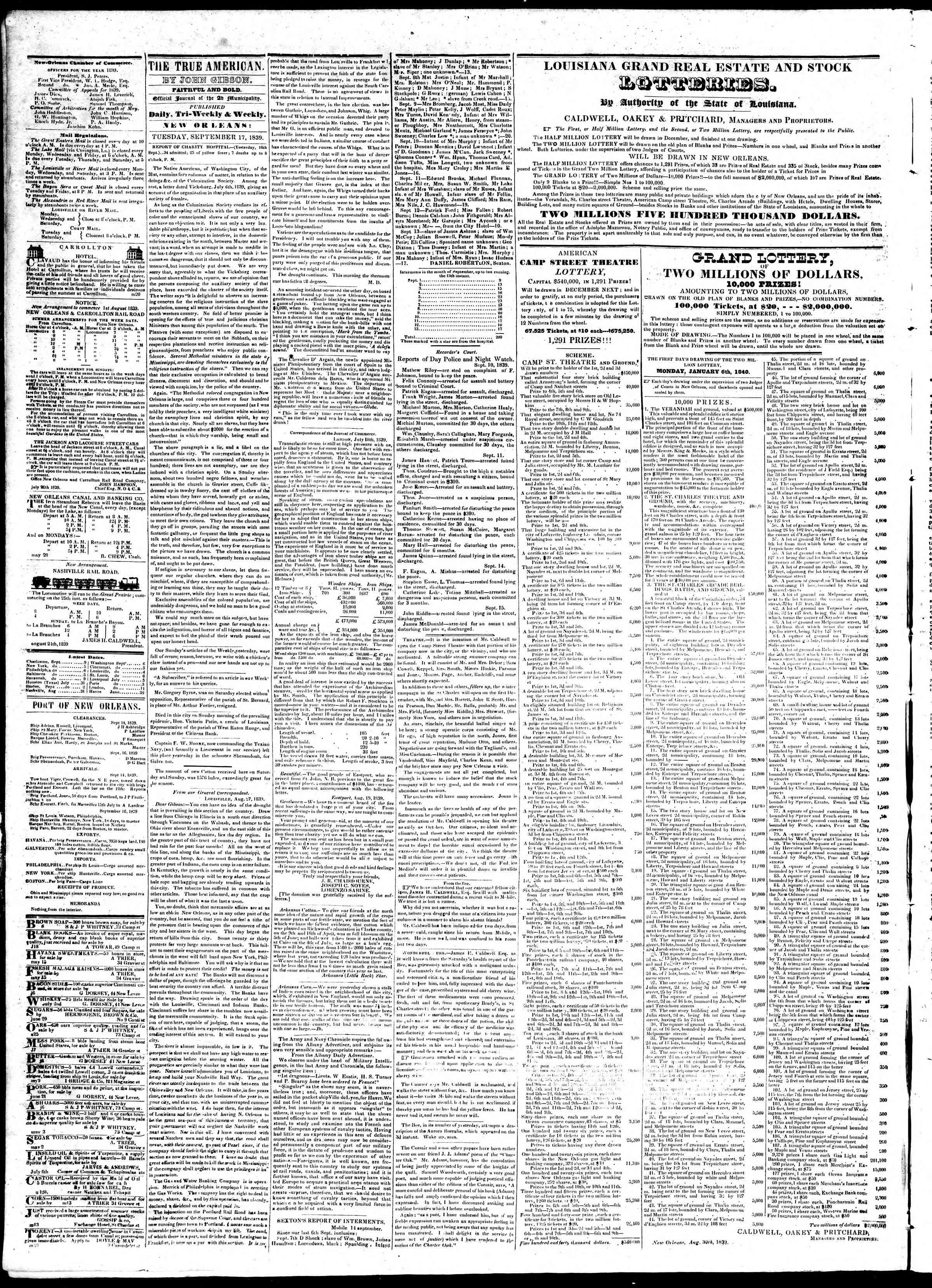 September 17, 1839 Tarihli True American Gazetesi Sayfa 2