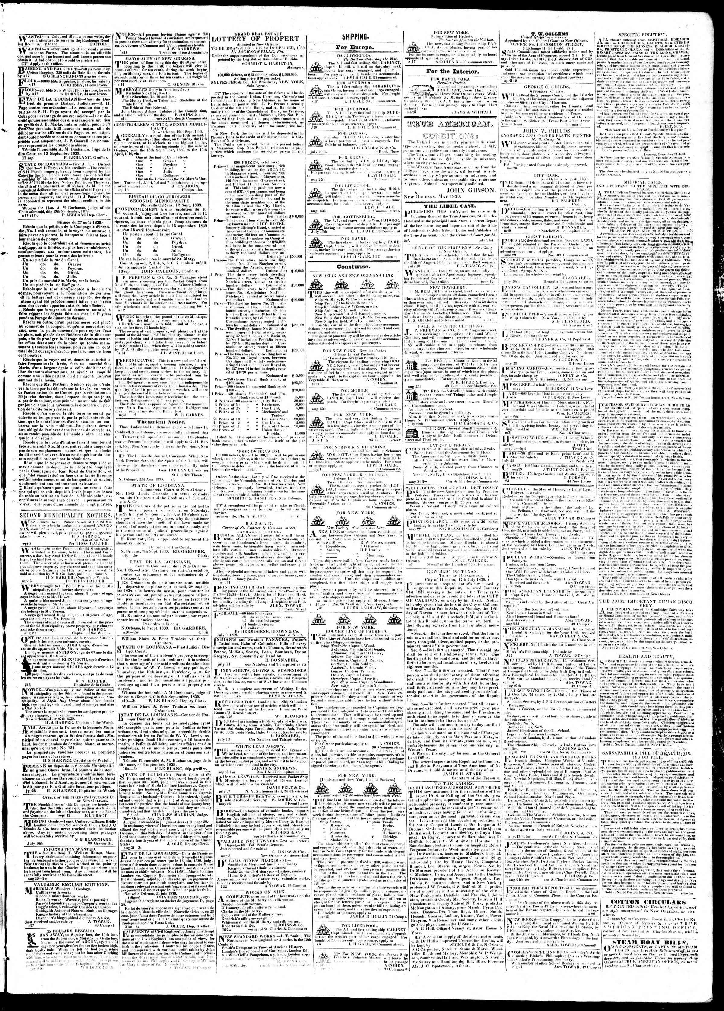 Newspaper of True American dated September 17, 1839 Page 3