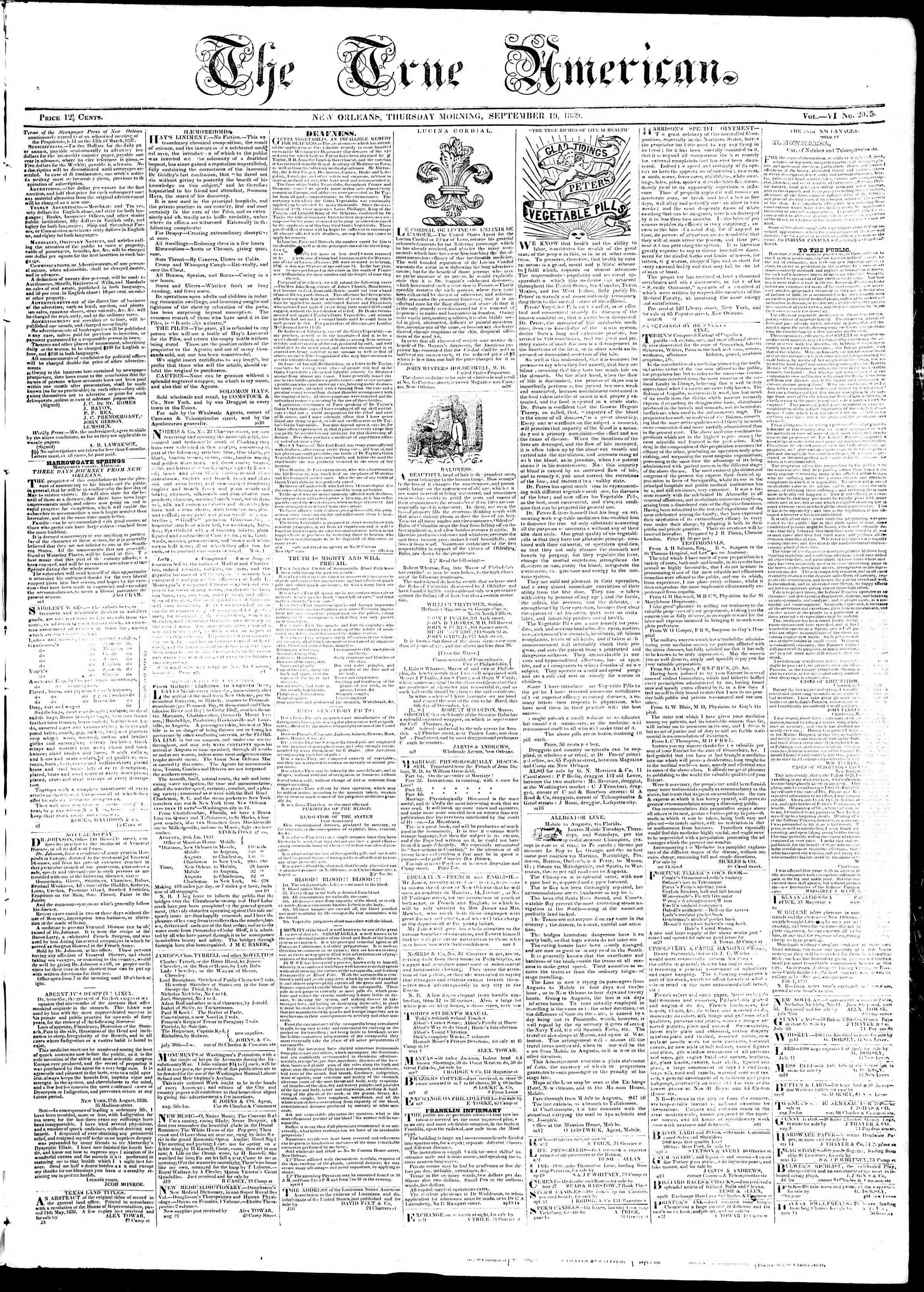 September 19, 1839 Tarihli True American Gazetesi Sayfa 1