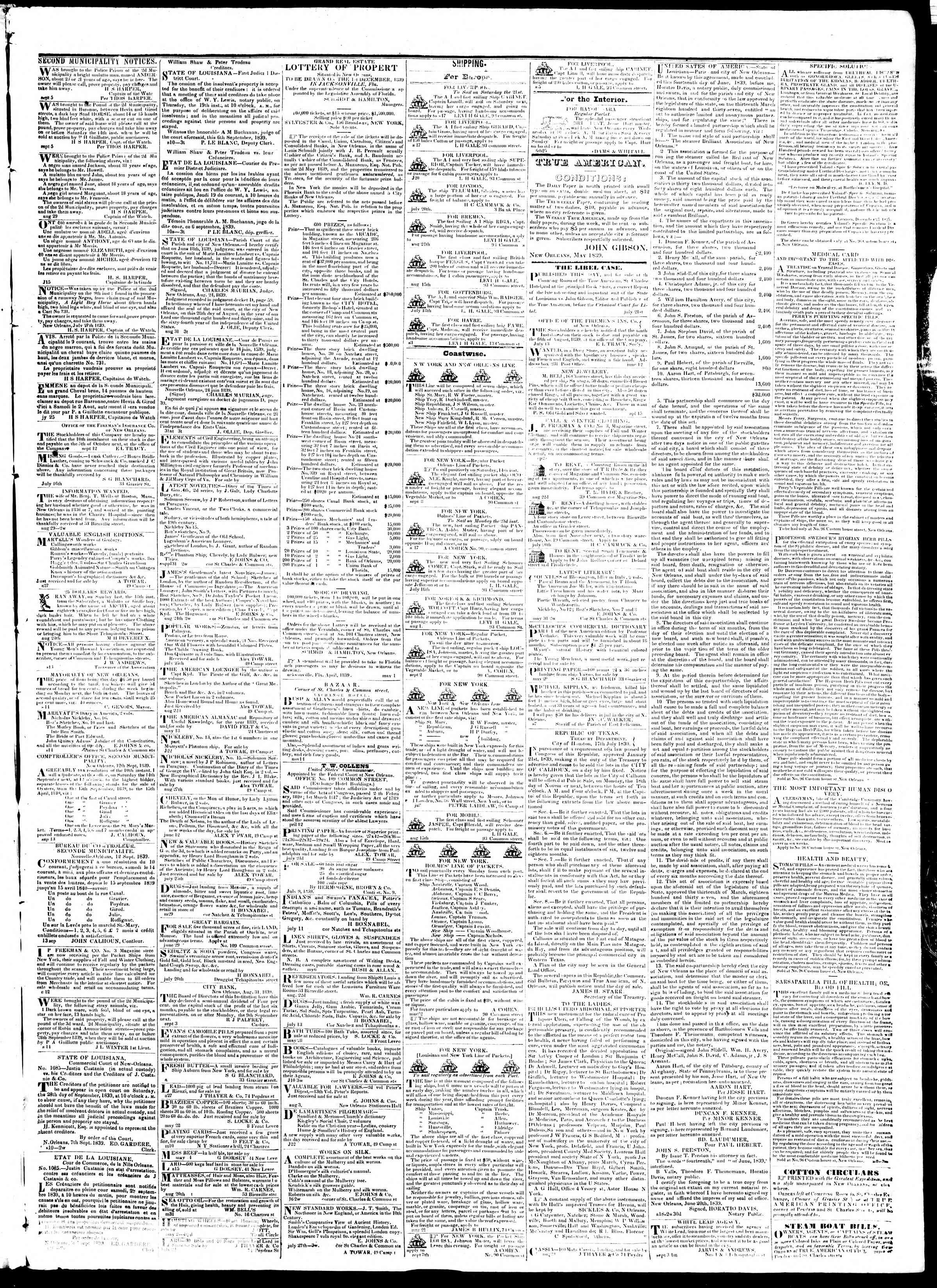 Newspaper of True American dated September 19, 1839 Page 3