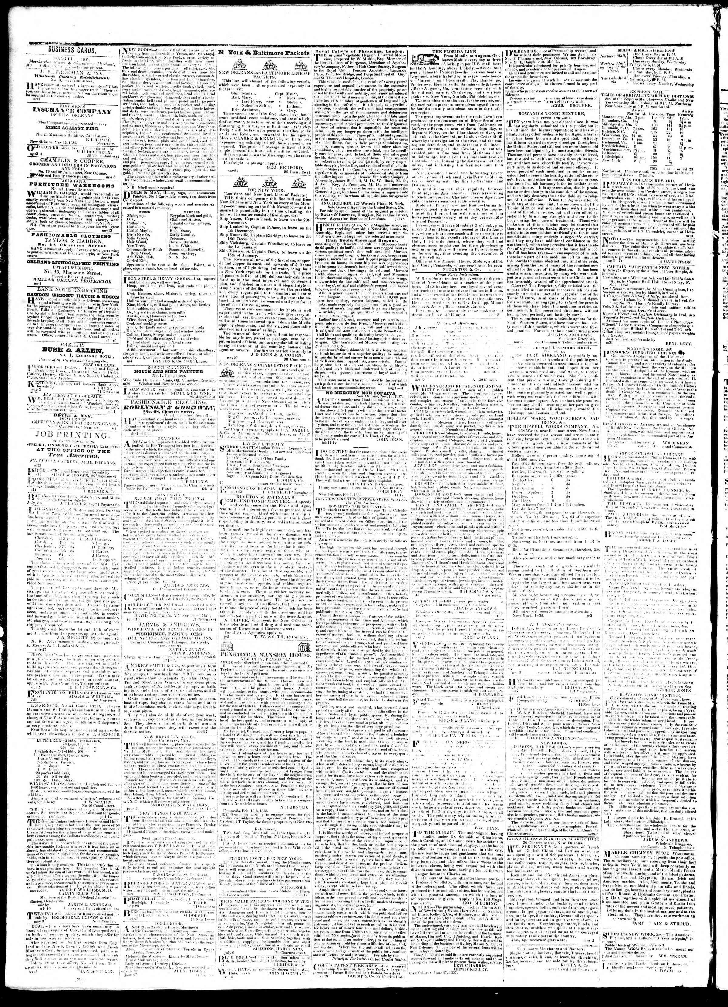 September 19, 1839 Tarihli True American Gazetesi Sayfa 4