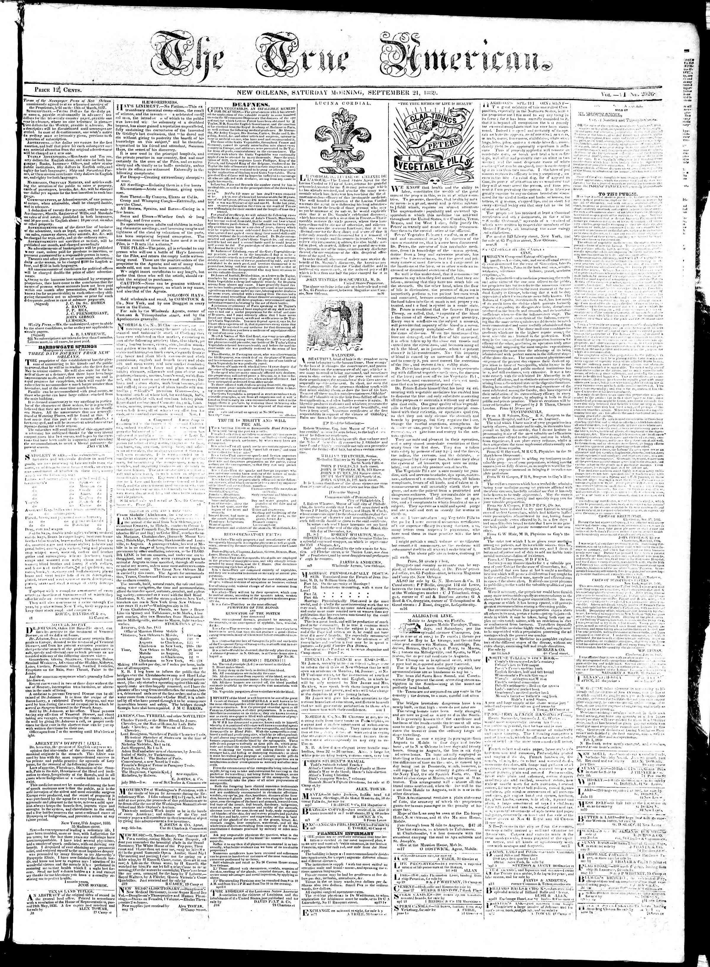 September 21, 1839 Tarihli True American Gazetesi Sayfa 1