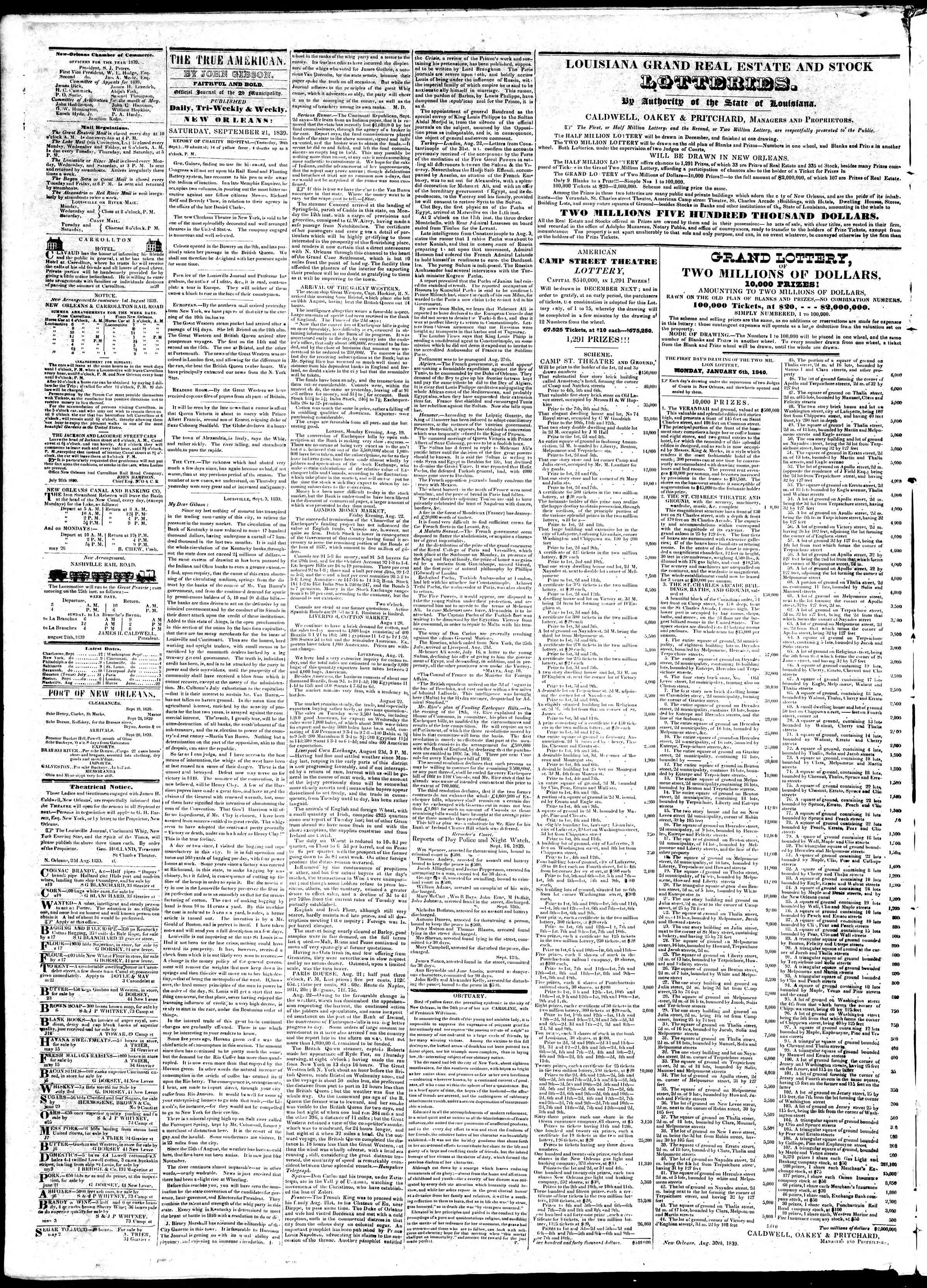 Newspaper of True American dated September 21, 1839 Page 2