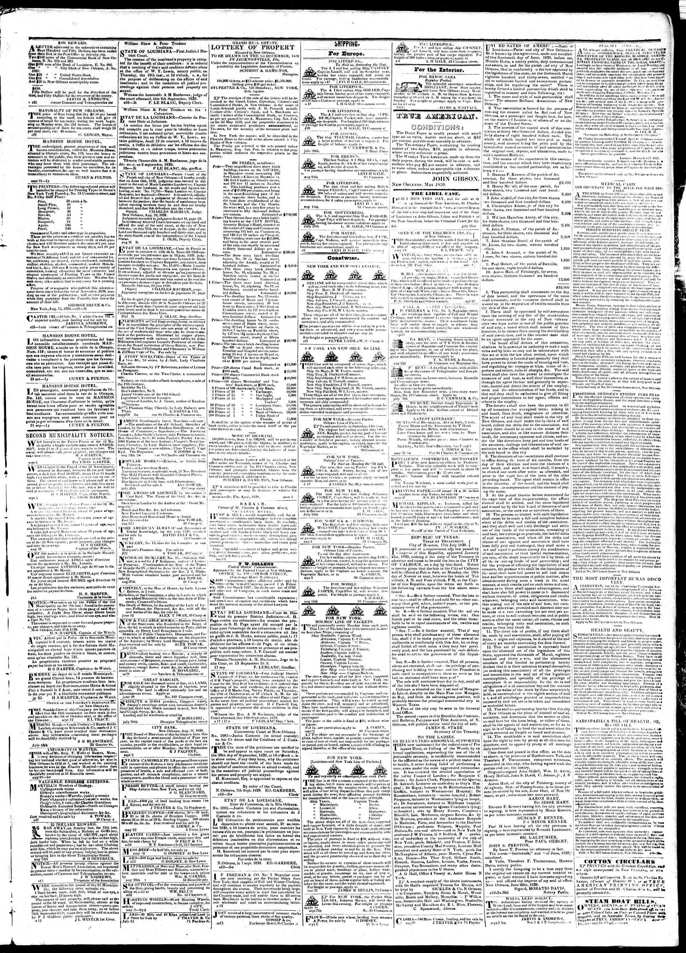 Newspaper of True American dated September 21, 1839 Page 3