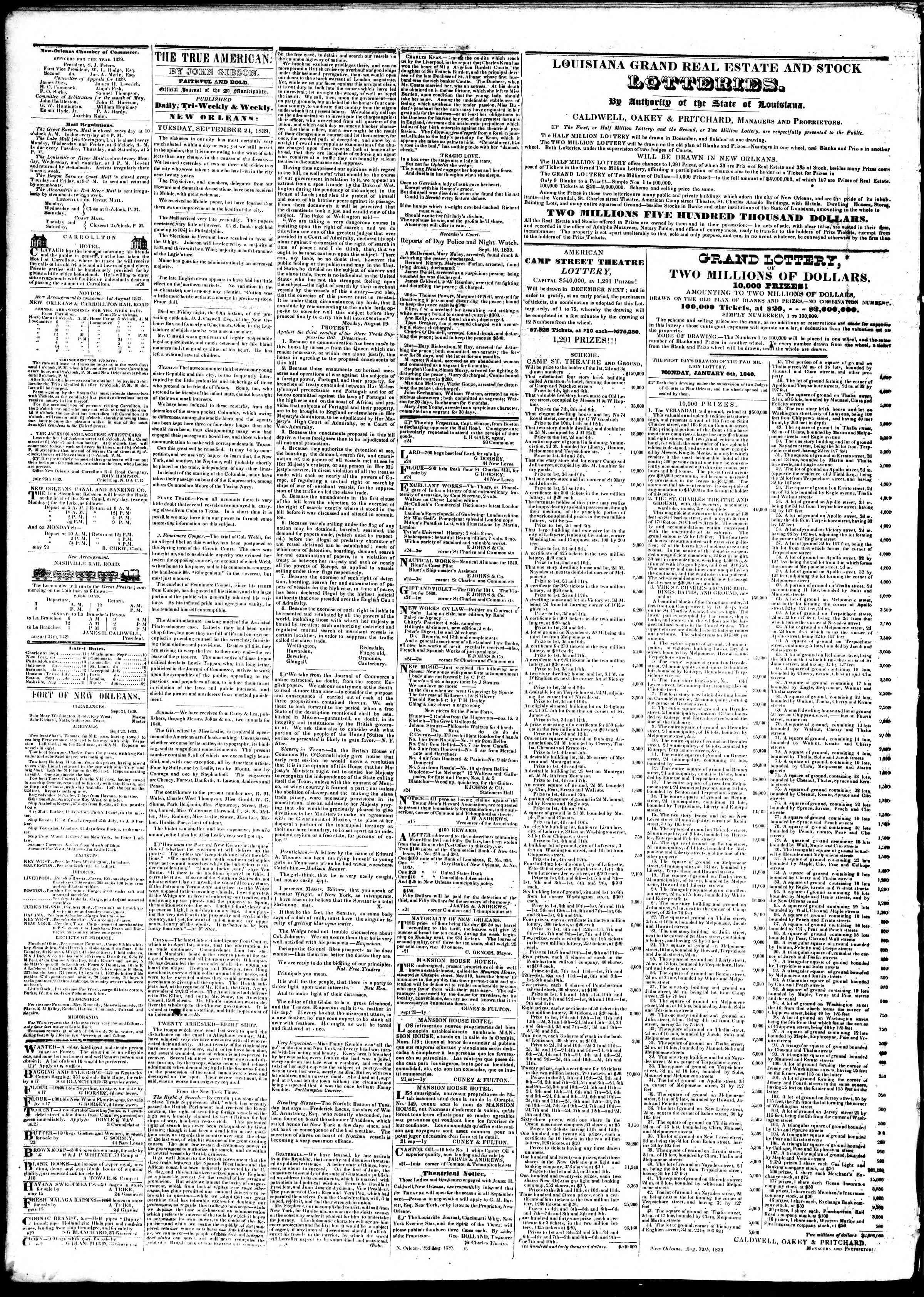 September 24, 1839 Tarihli True American Gazetesi Sayfa 2