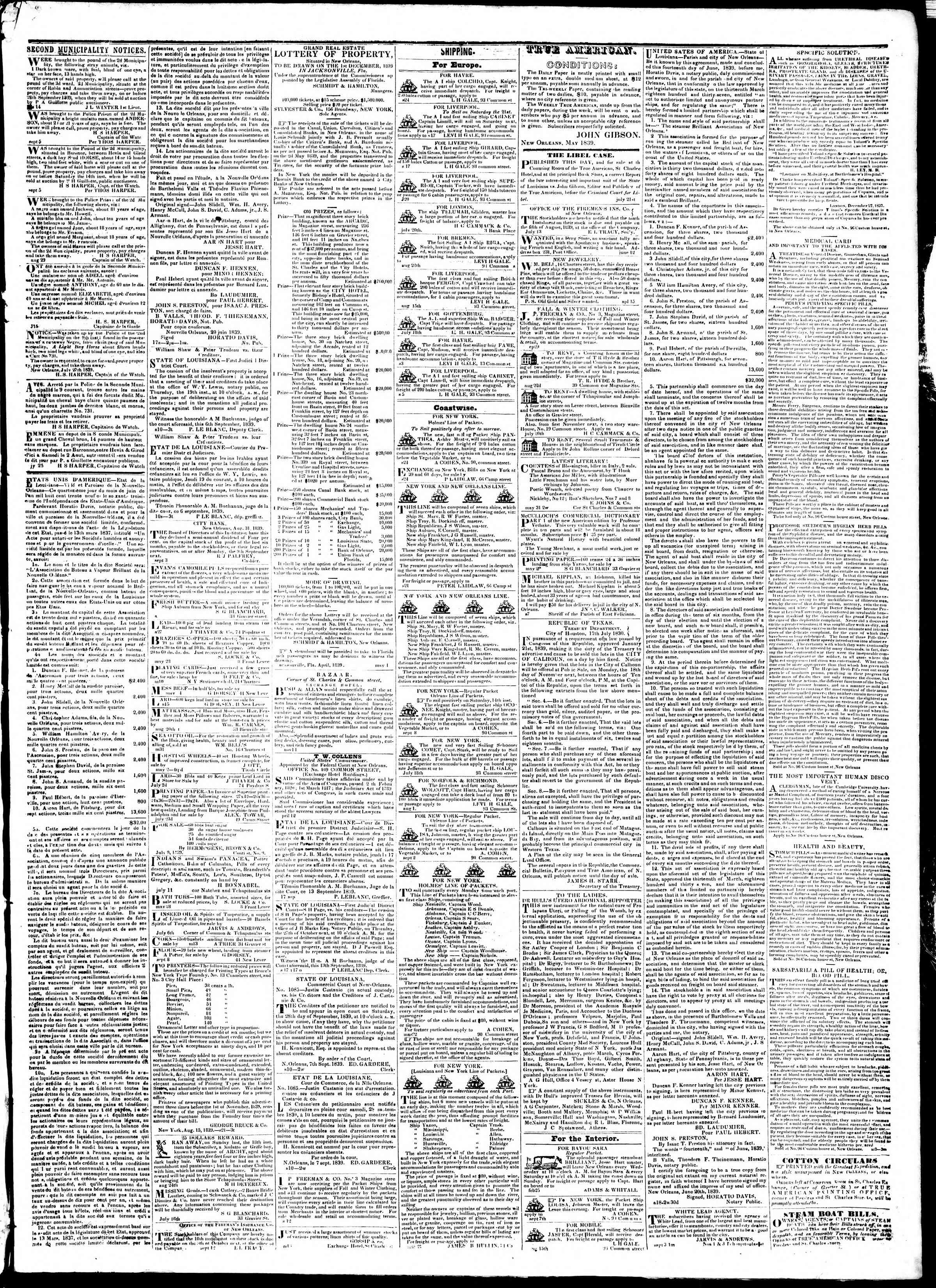 Newspaper of True American dated September 24, 1839 Page 3