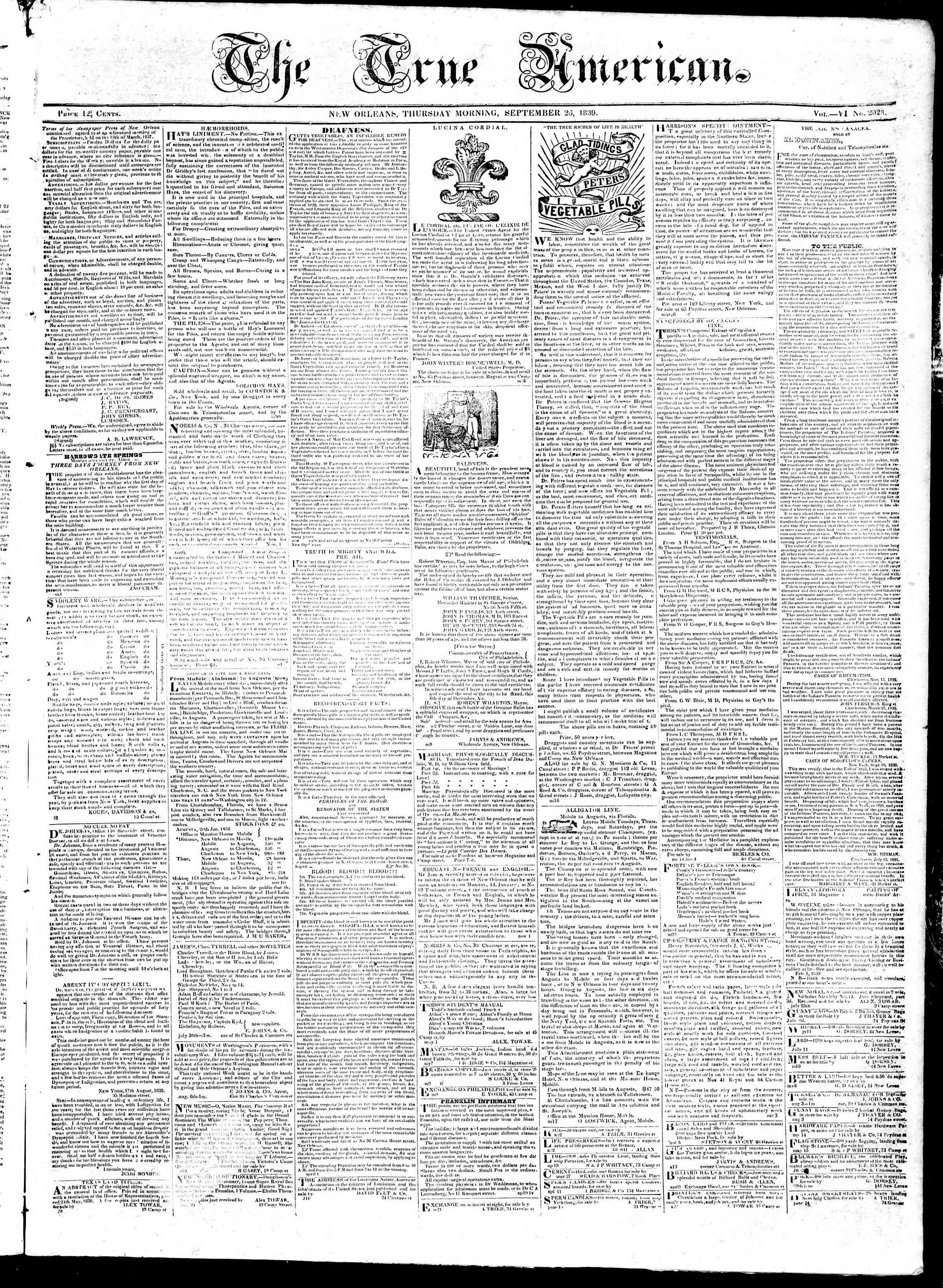September 26, 1839 Tarihli True American Gazetesi Sayfa 1
